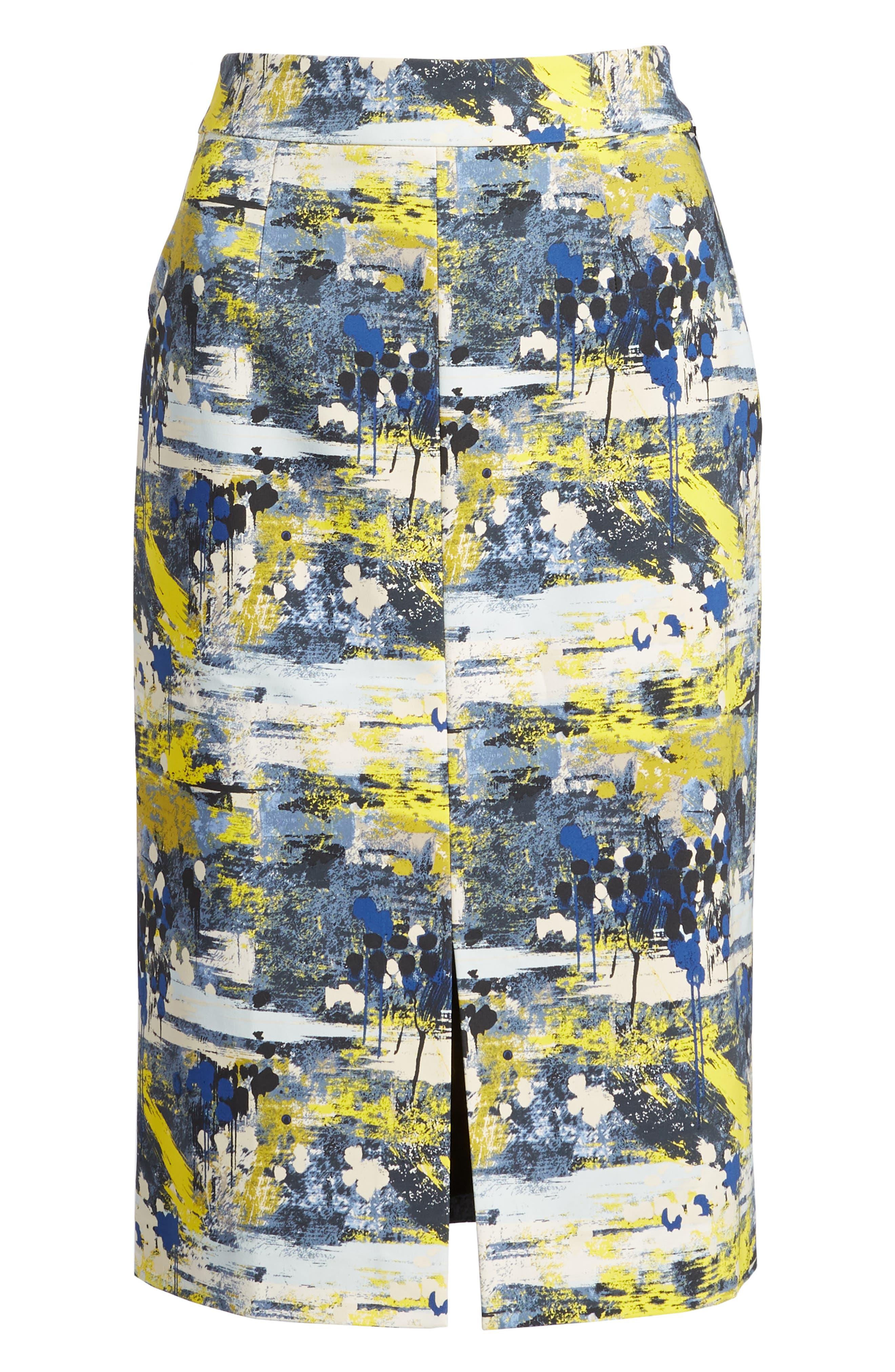 High Waist Skirt,                             Alternate thumbnail 6, color,                             Blue Dot Drip Print
