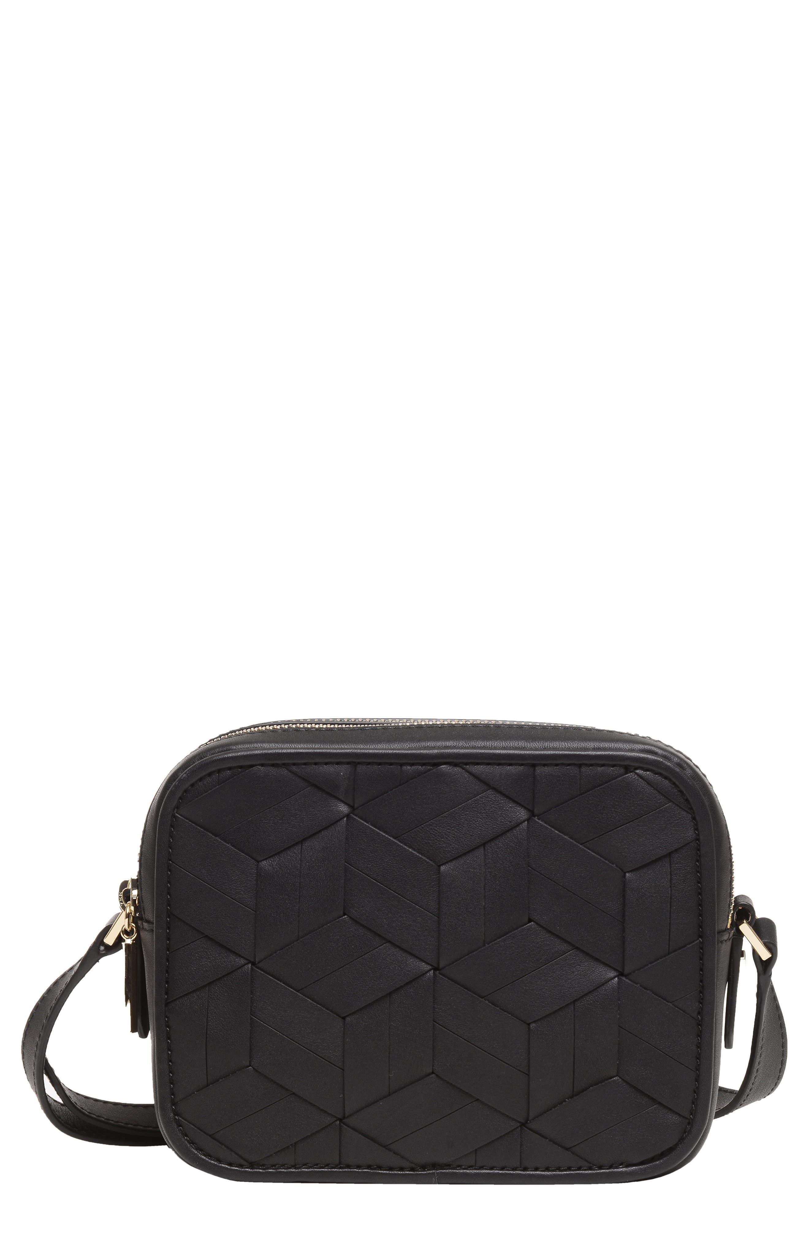 Explorer Woven Leather Camera Bag,                             Main thumbnail 1, color,                             Black