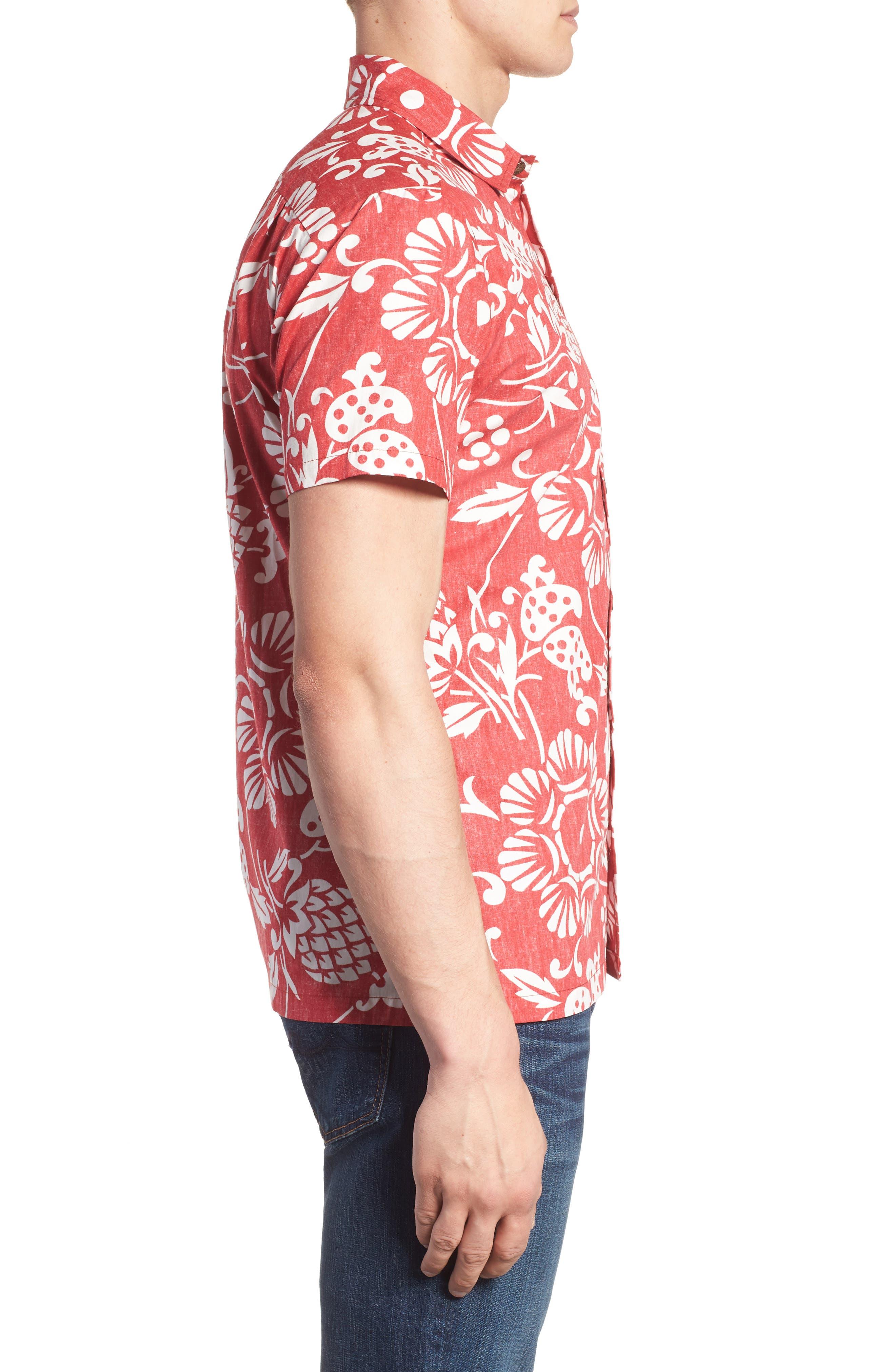 Duke's Pareo Trim Fit Sport Shirt,                             Alternate thumbnail 3, color,                             Surfer Red