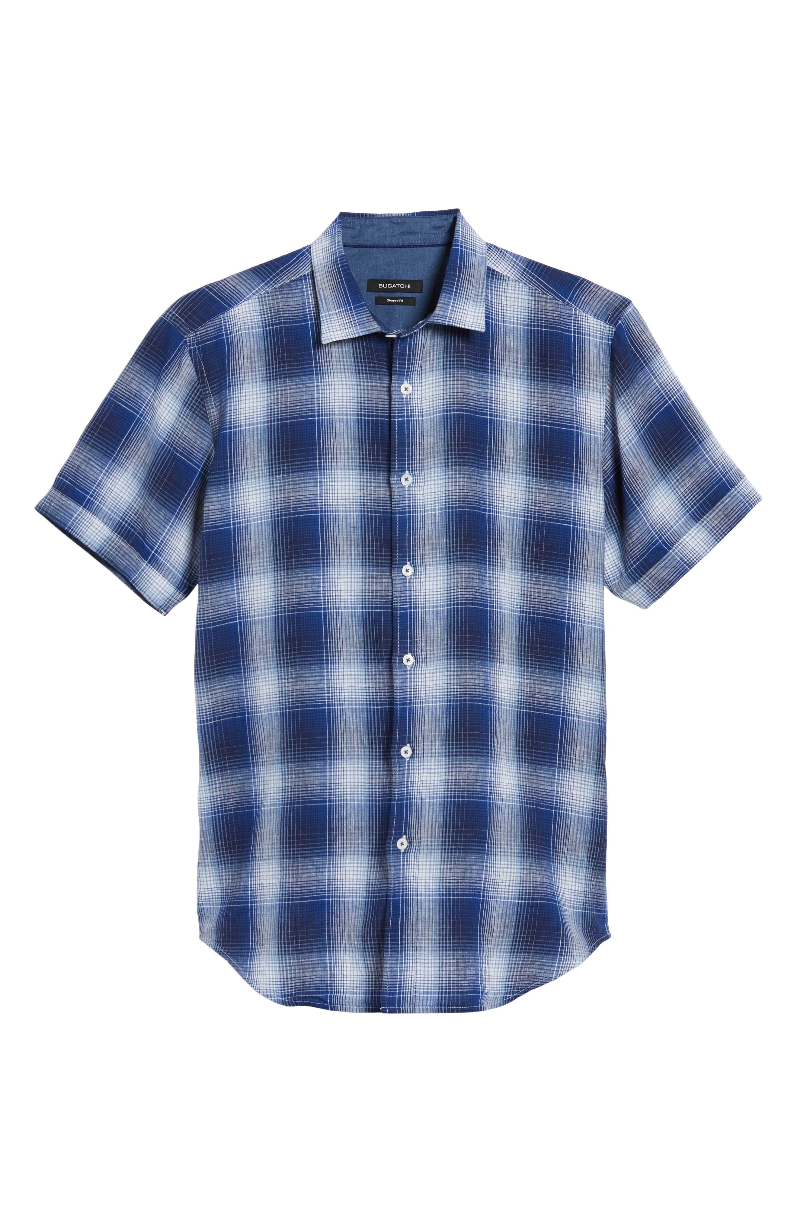 Shaped Fit Plaid Linen Blend Sport Shirt,                             Alternate thumbnail 6, color,                             Navy