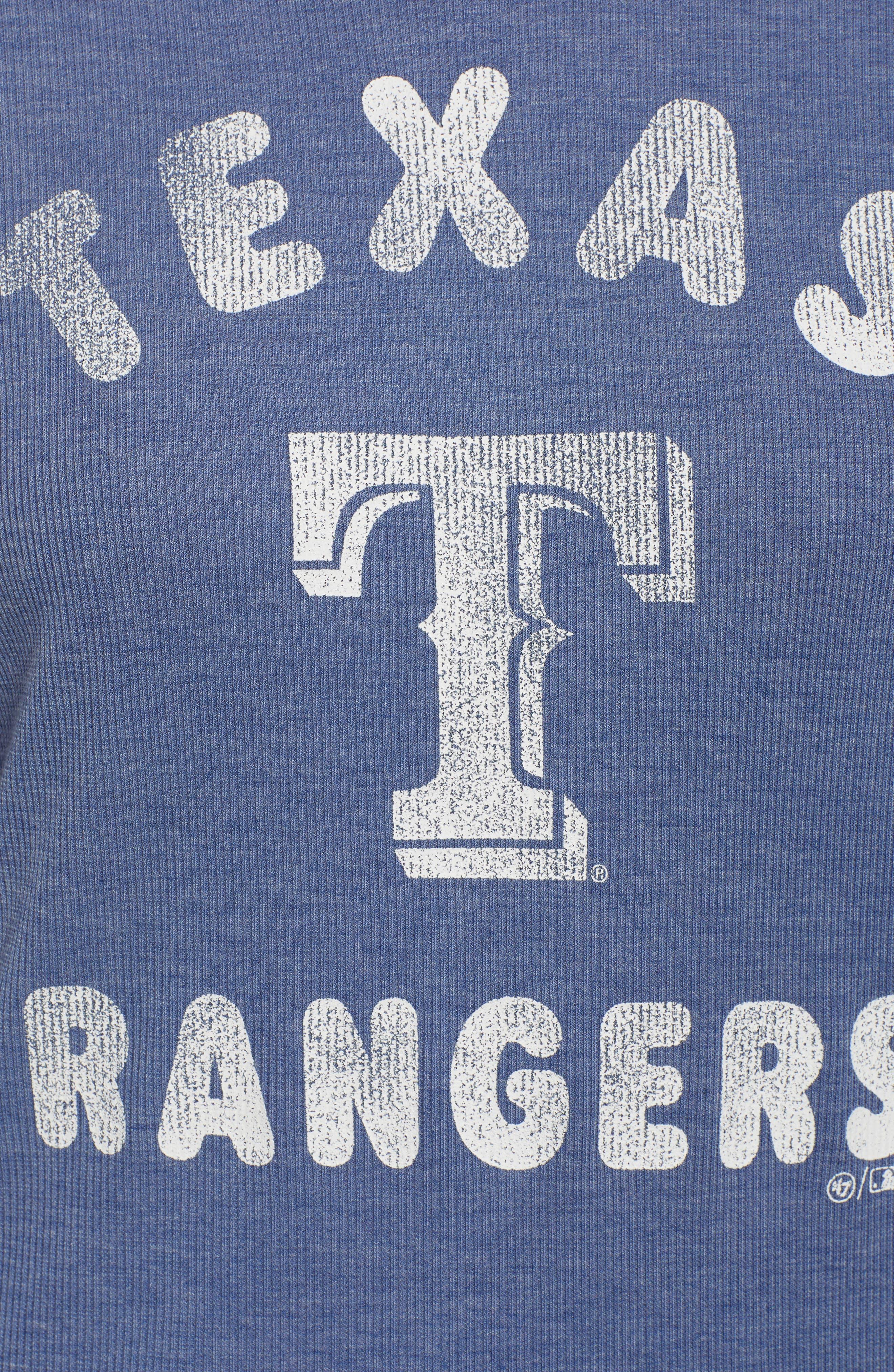 Campbell Texas Rangers Rib Knit Hooded Top,                             Alternate thumbnail 6, color,                             Bleacher Blue