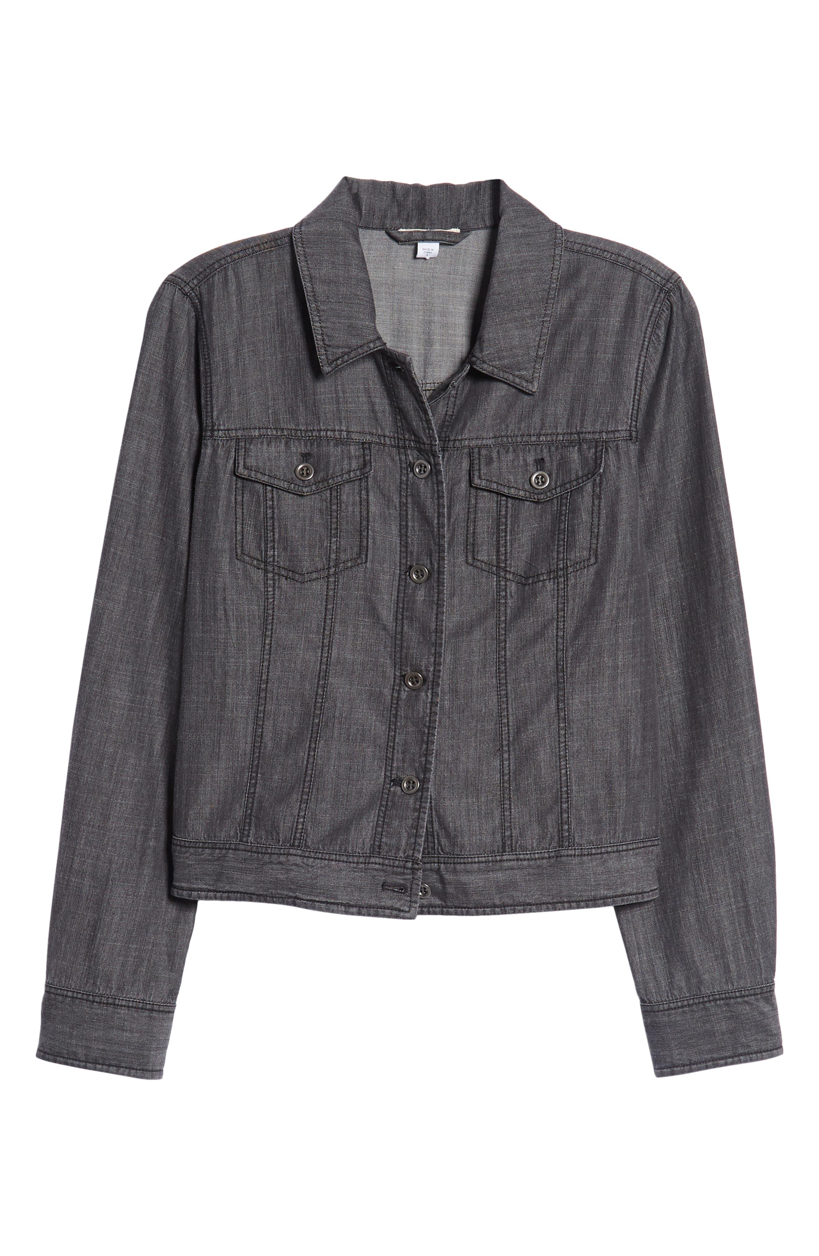 Crop Denim Jacket,                             Alternate thumbnail 7, color,                             Black