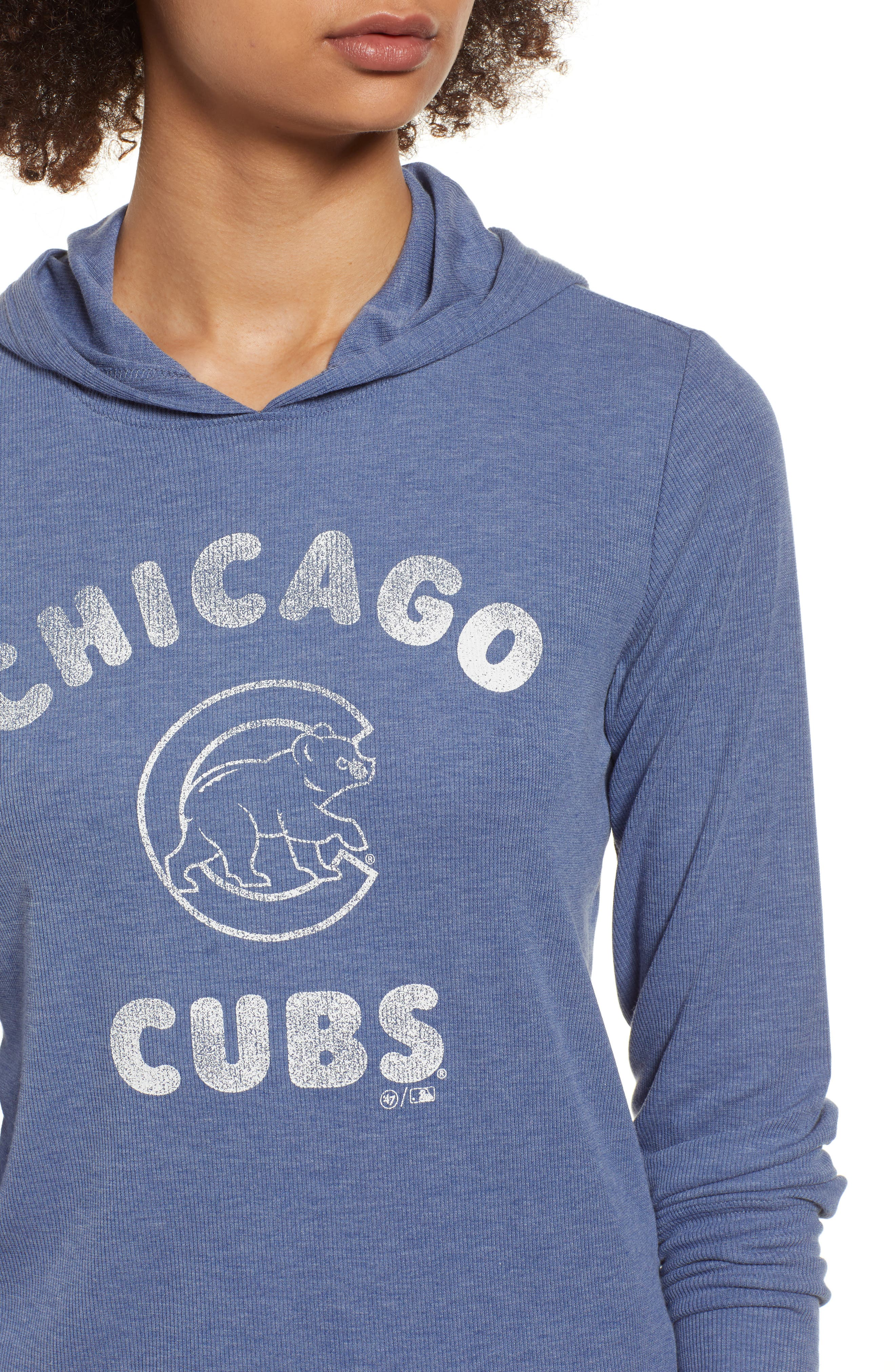 Campbell Chicago Cubs Rib Knit Hoodie,                             Alternate thumbnail 4, color,                             Bleacher Blue