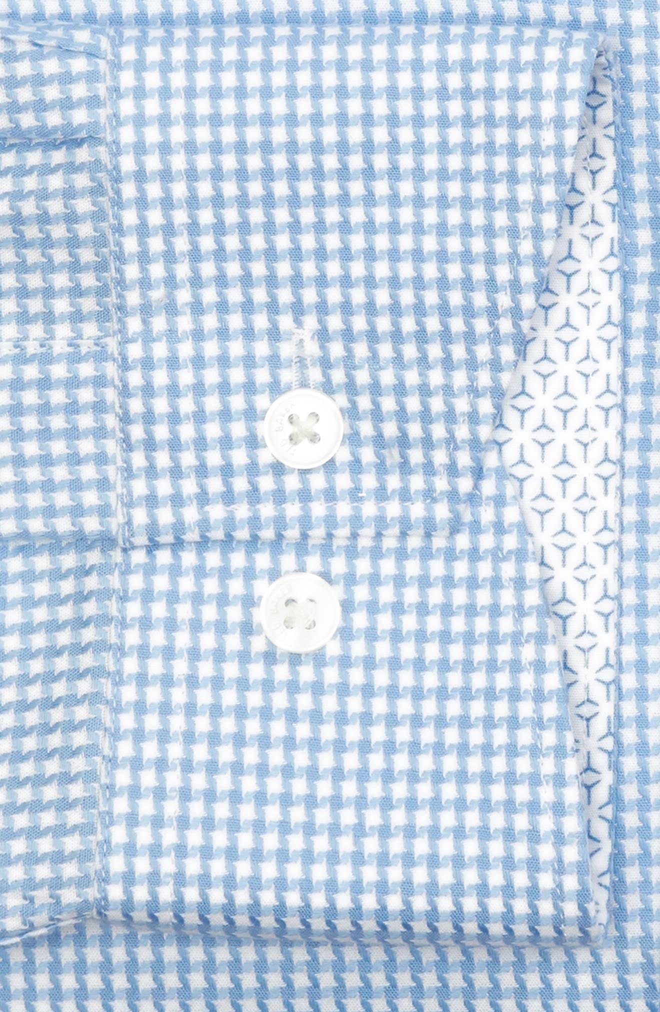 Jaiden Trim Fit Houndstooth Dress Shirt,                             Alternate thumbnail 5, color,                             Light Blue
