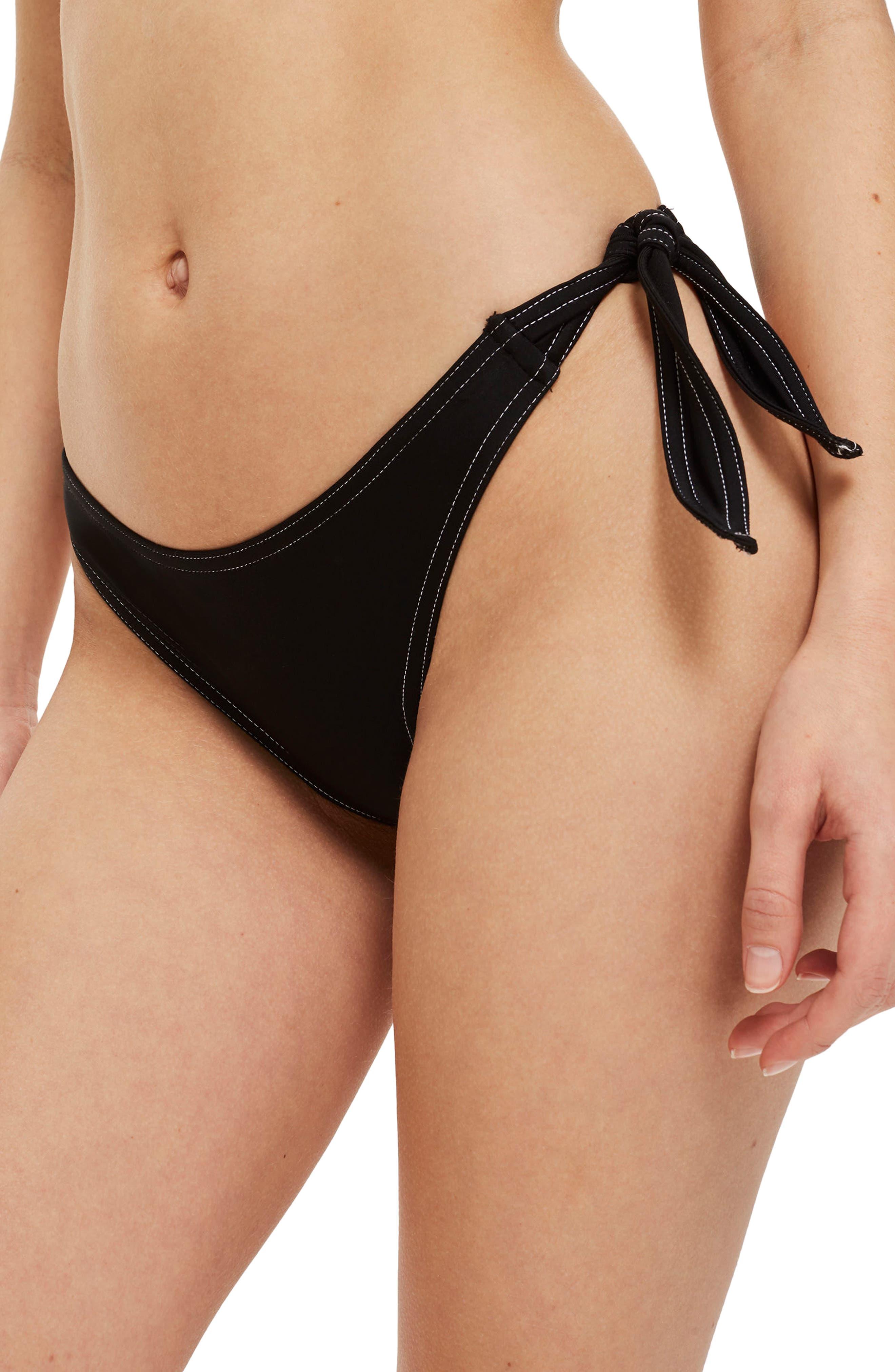 Wide Tie Swim Bottoms,                         Main,                         color, Black