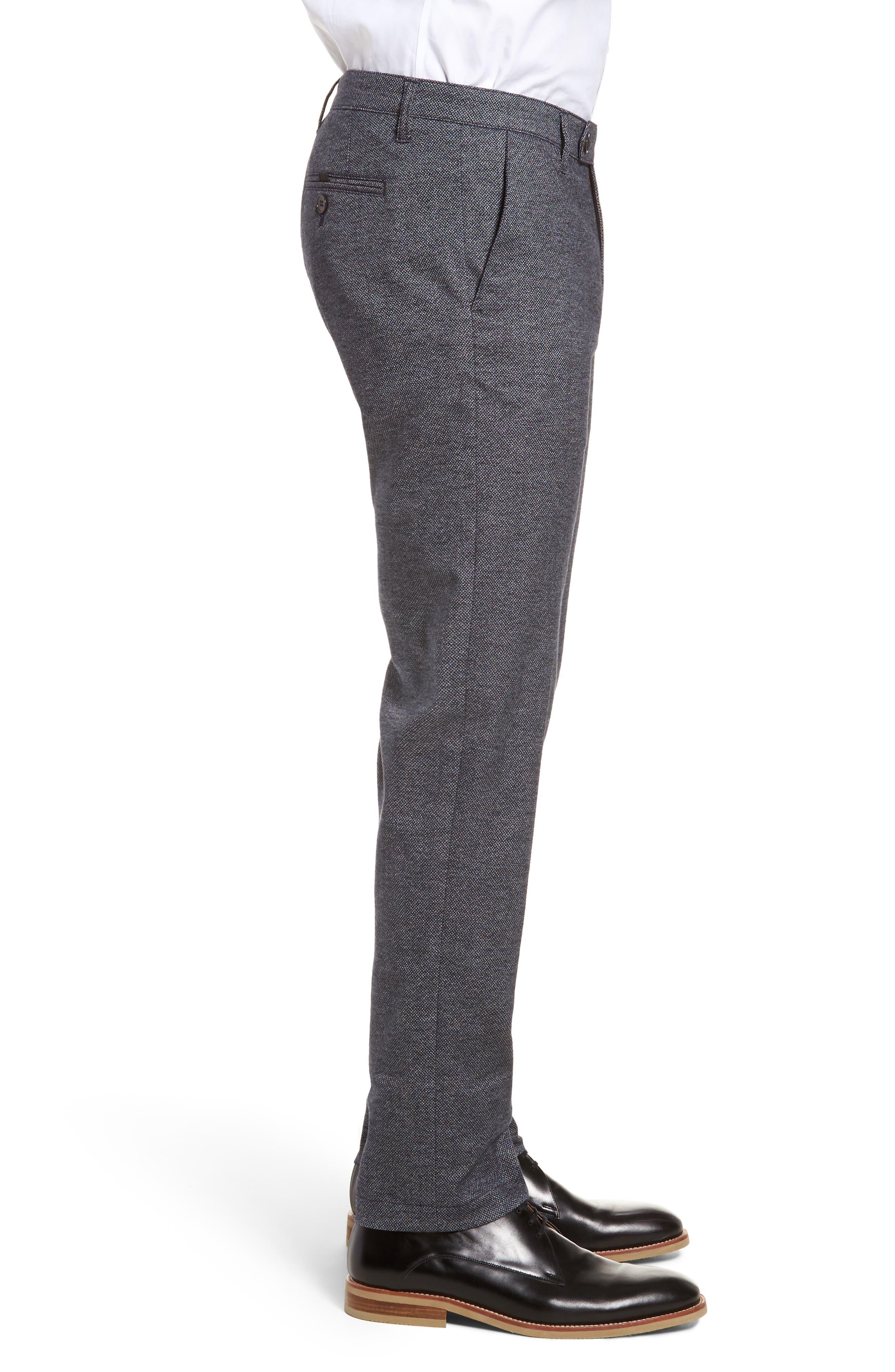 Pintztt Flat Front Stretch Solid Cotton Pants,                             Alternate thumbnail 3, color,                             Navy