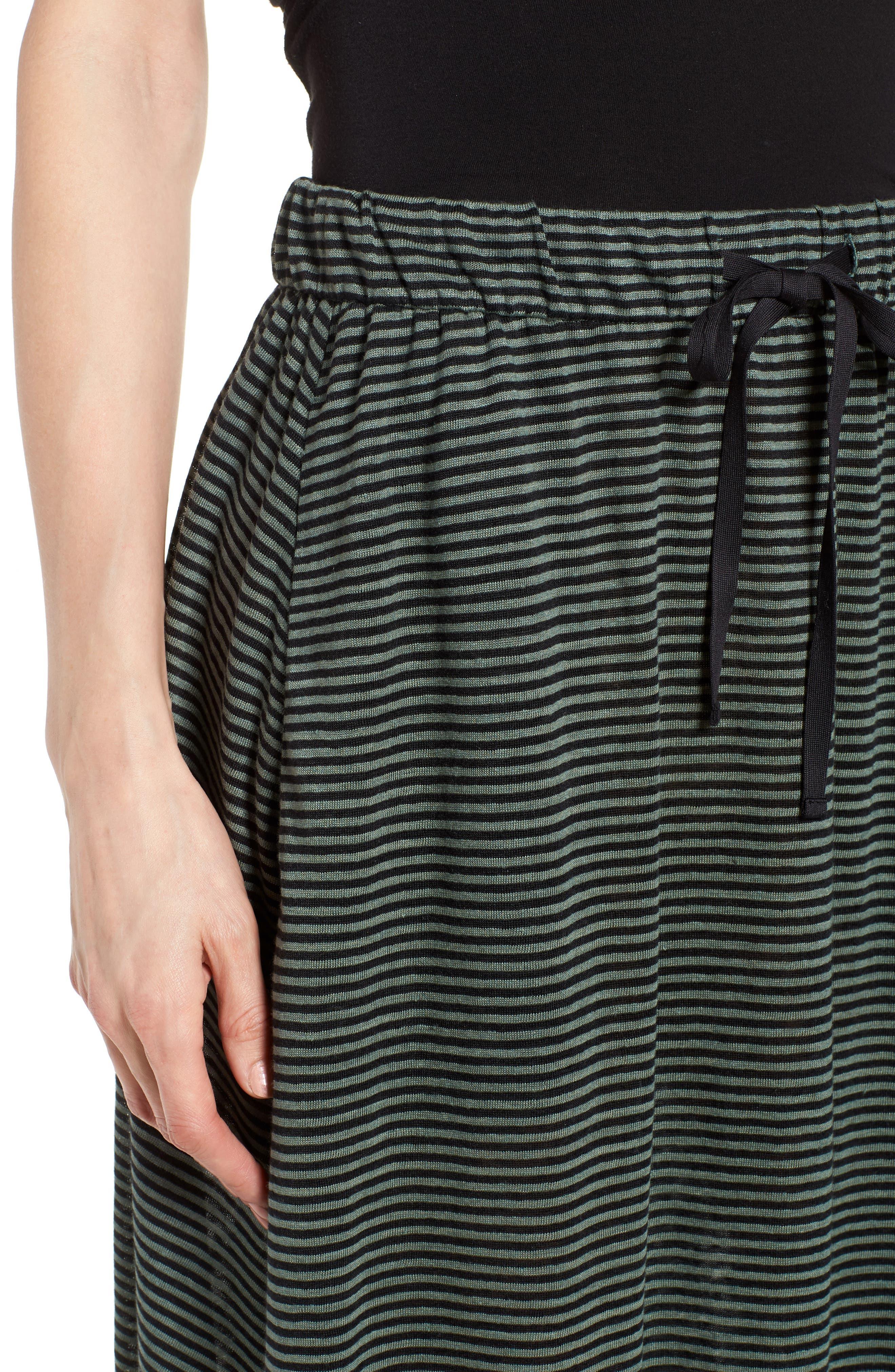 Flared Stripe Organic Linen Skirt,                             Alternate thumbnail 4, color,                             Nori