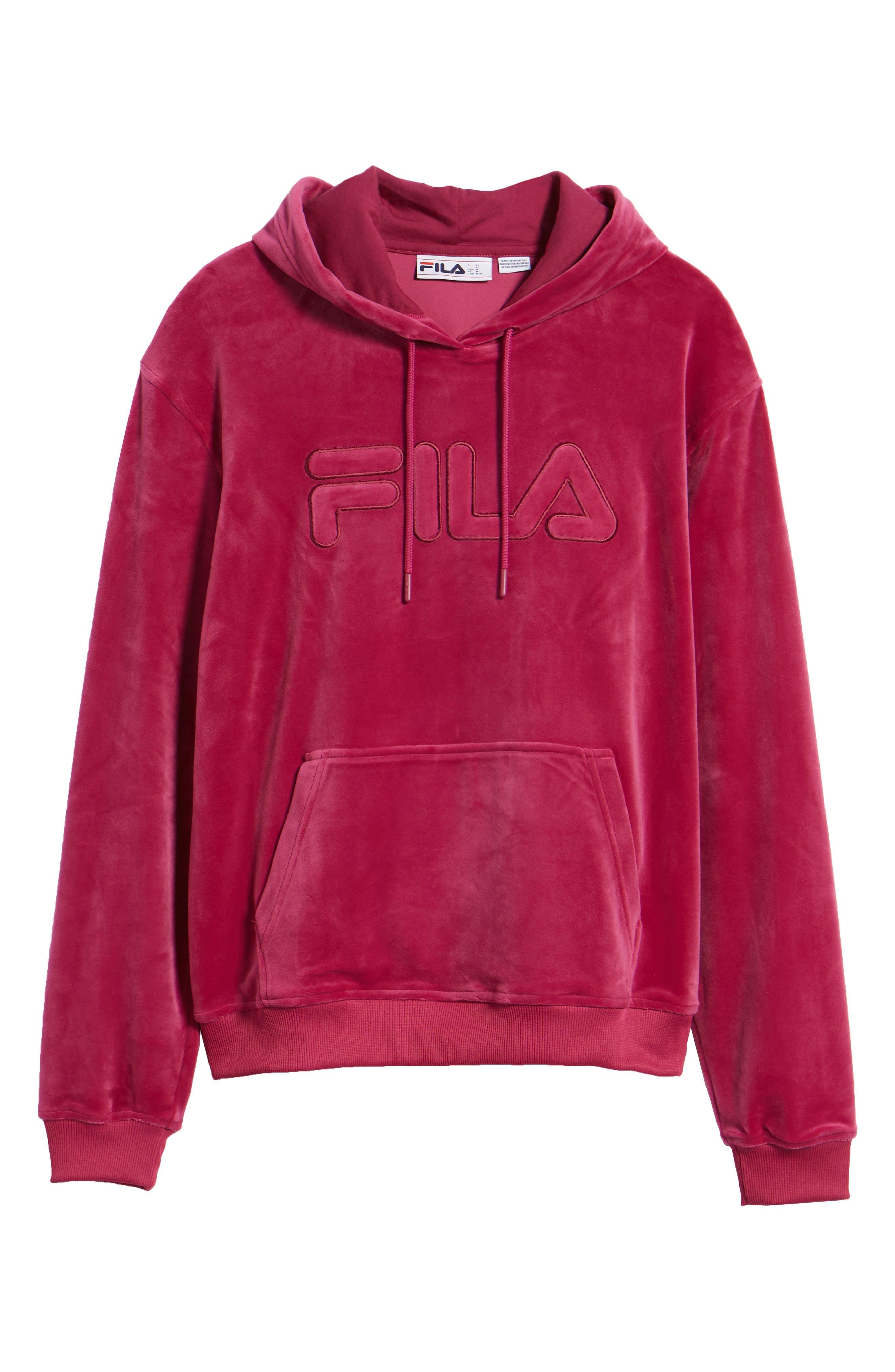 Asher Velour Hoodie Sweatshirt,                             Alternate thumbnail 6, color,                             Rasberry Radiance