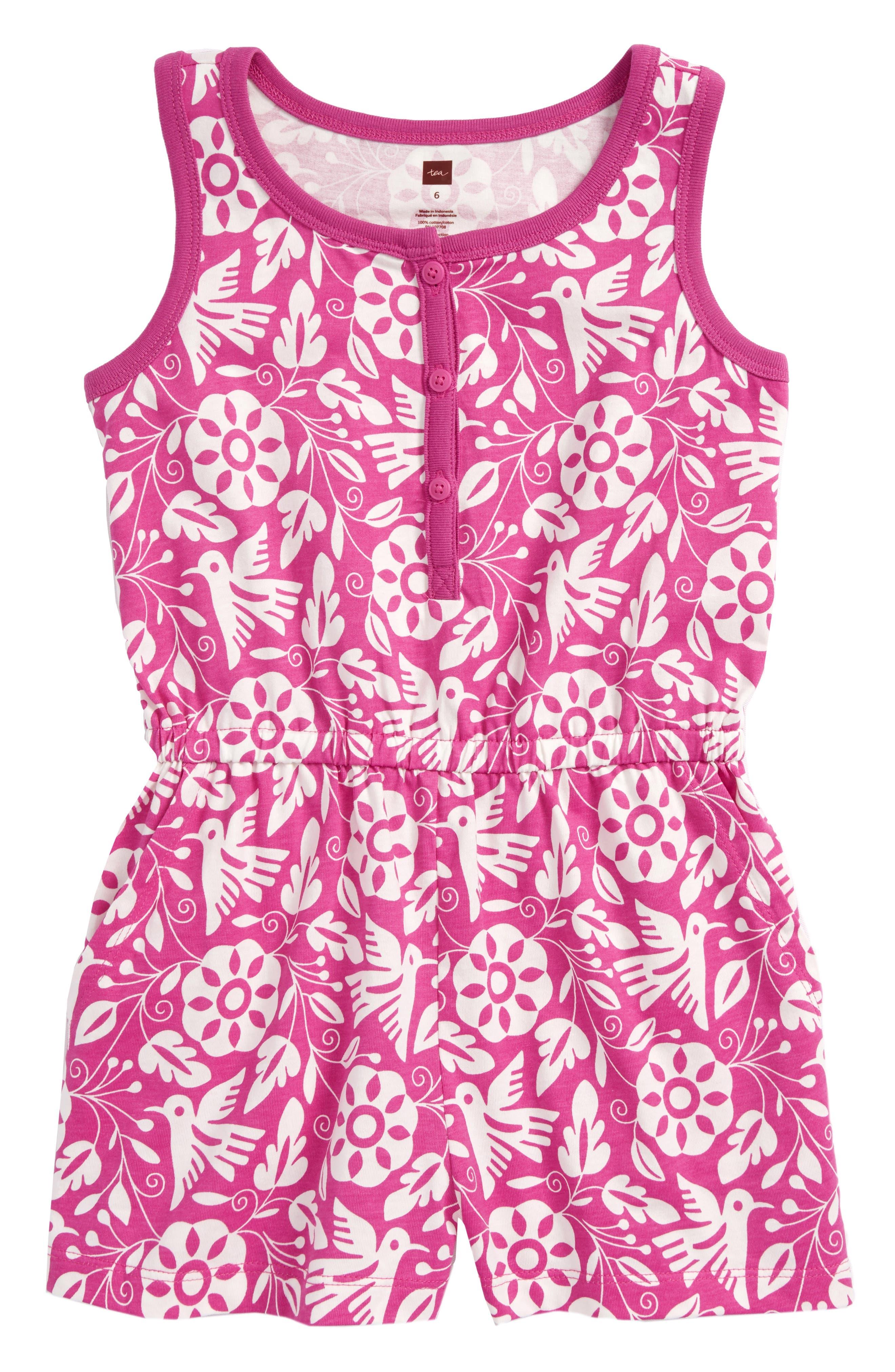 Main Image - Tea Collection Hawaiian Knit Romper (Toddler Girls, Little Girls & Big Girls)