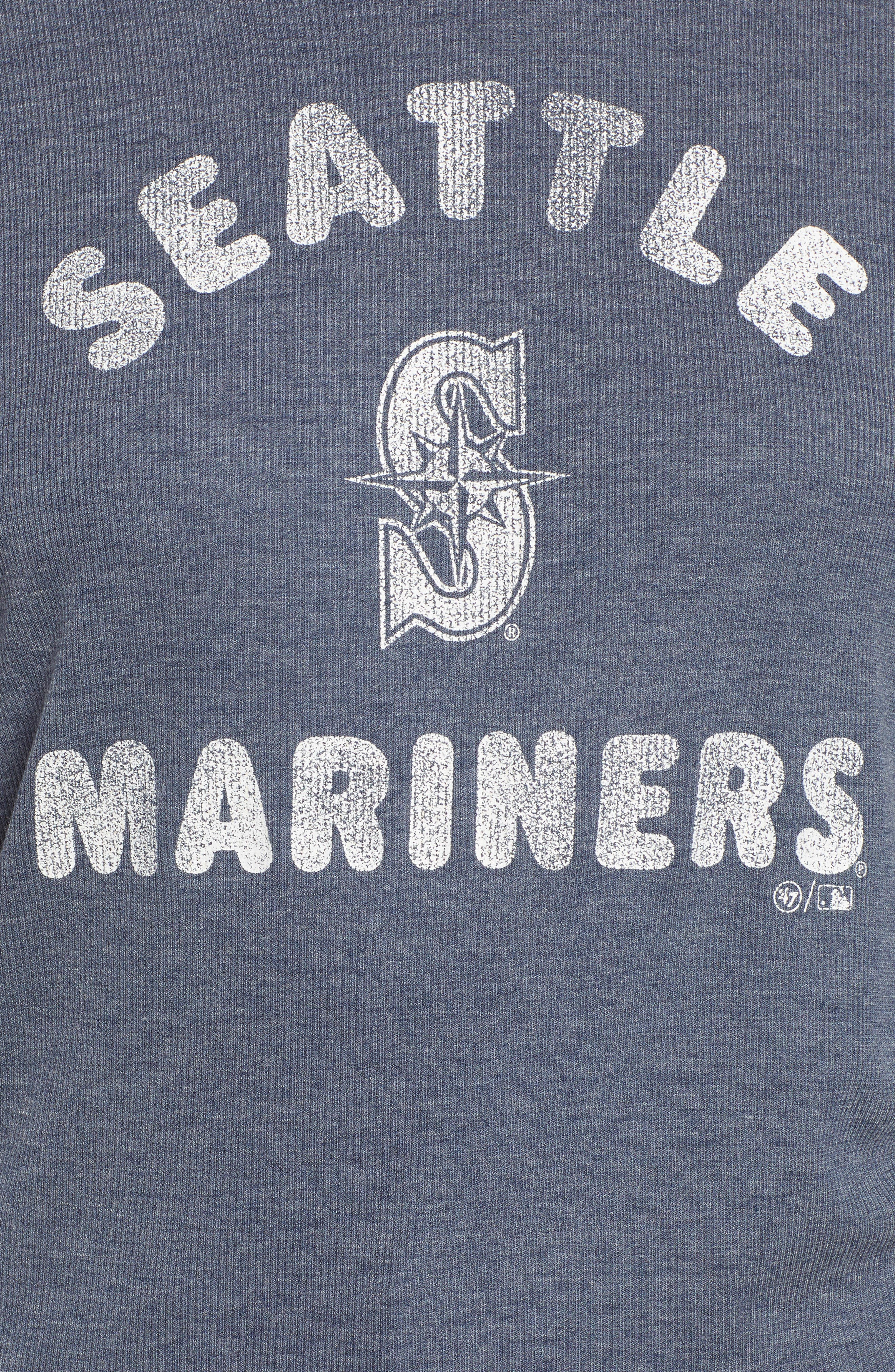 Campbell Seattle Mariners Rib Knit Hooded Top,                             Alternate thumbnail 6, color,                             Midnight