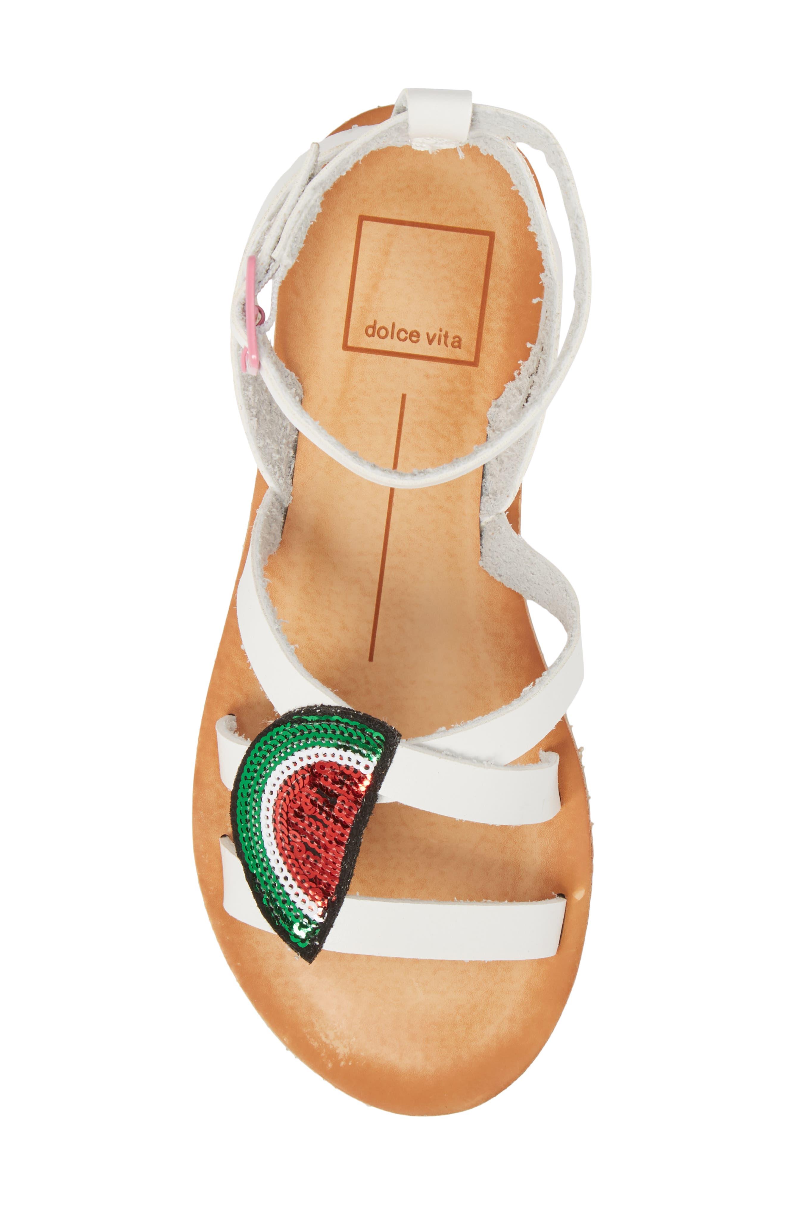 Jaclin Fruit Sequined Sandal,                             Alternate thumbnail 5, color,                             White