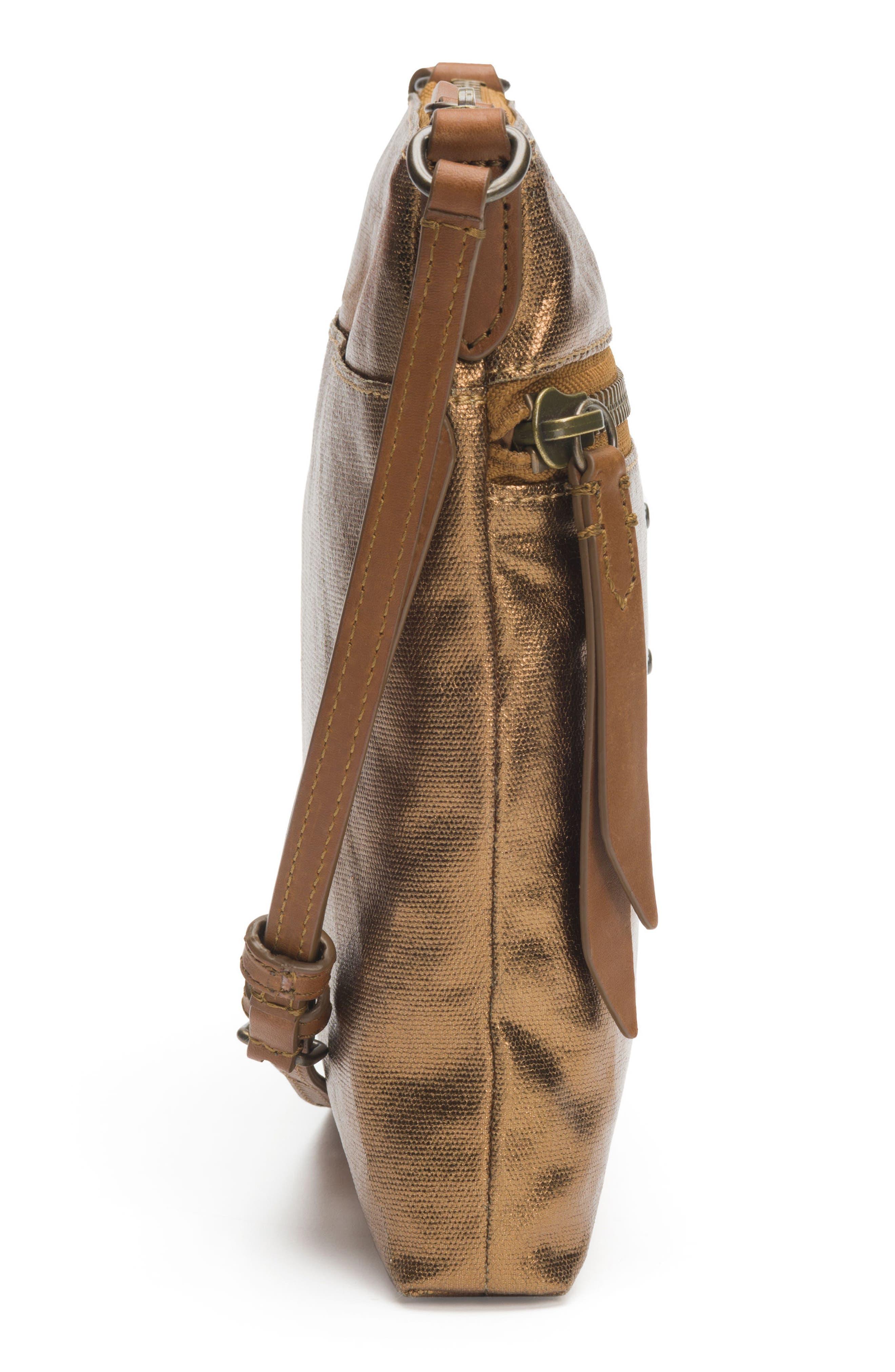 Ivy Metallic Nylon Crossbody Bag,                             Alternate thumbnail 5, color,                             Bronze