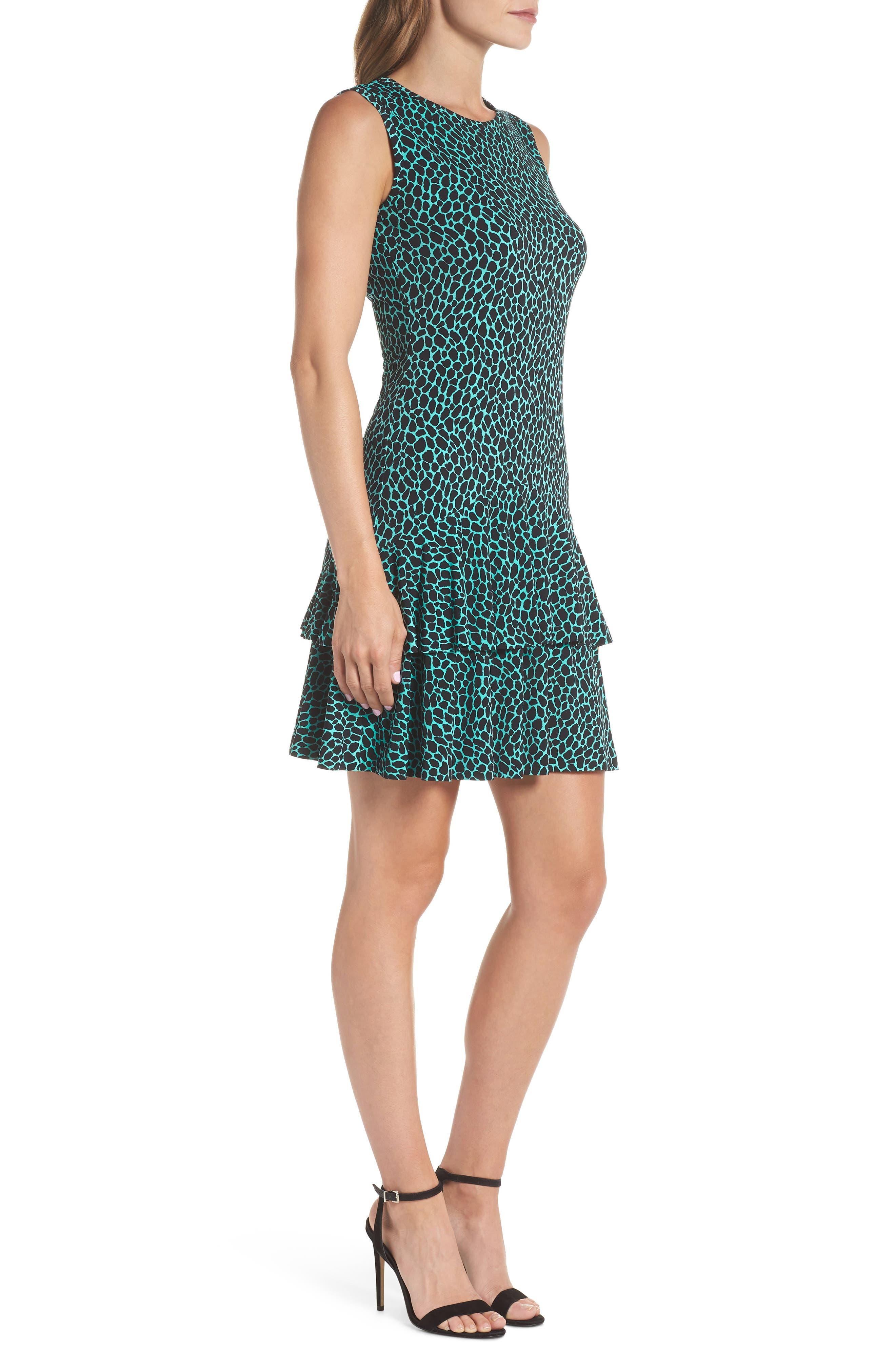 Leopard Print Flounce Hem Dress,                             Alternate thumbnail 3, color,                             Aqua/ Black