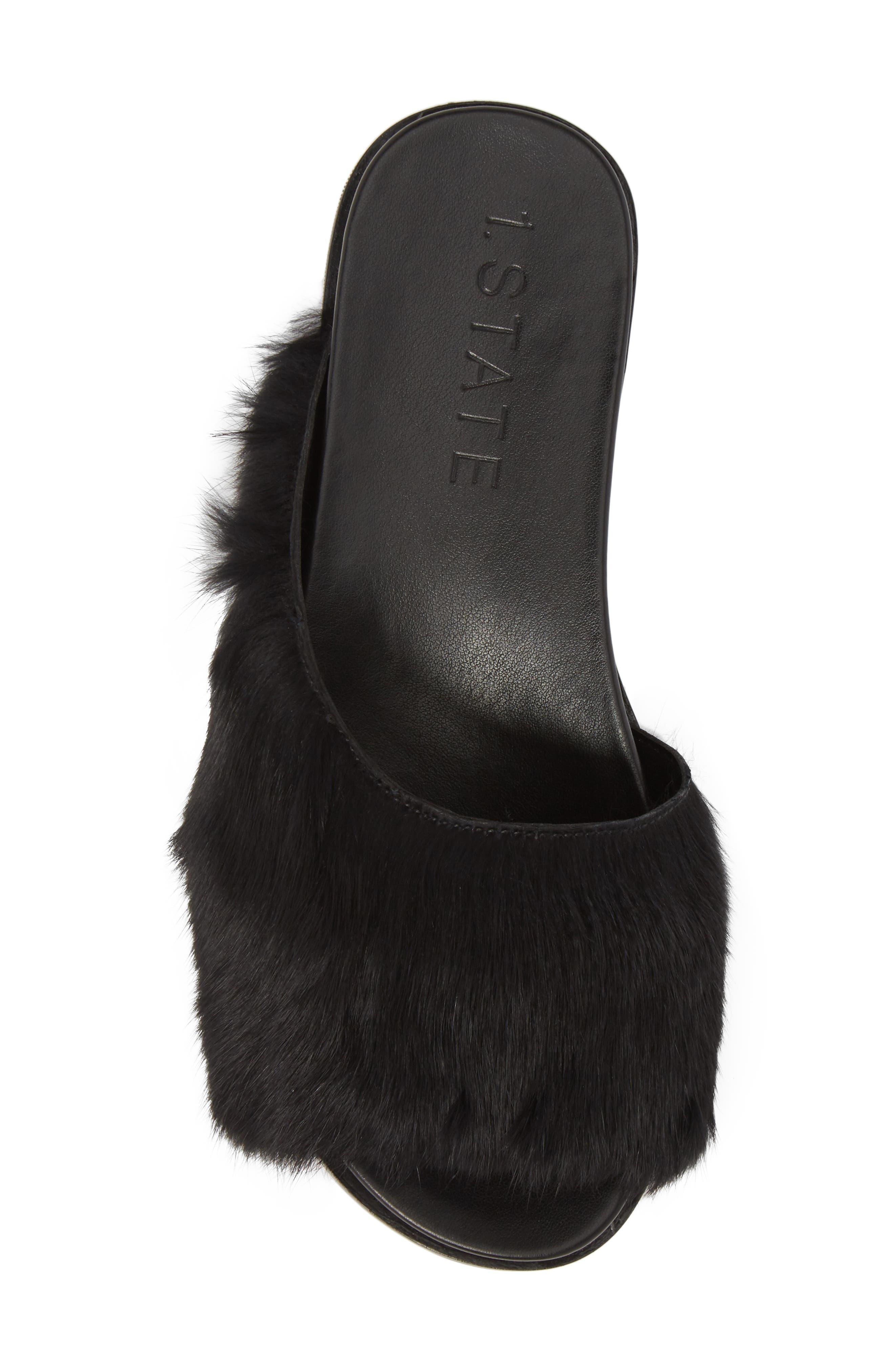 Onora Genuine Rabbit Fur Slide Sandal,                             Alternate thumbnail 5, color,                             Black Rabbit Fur