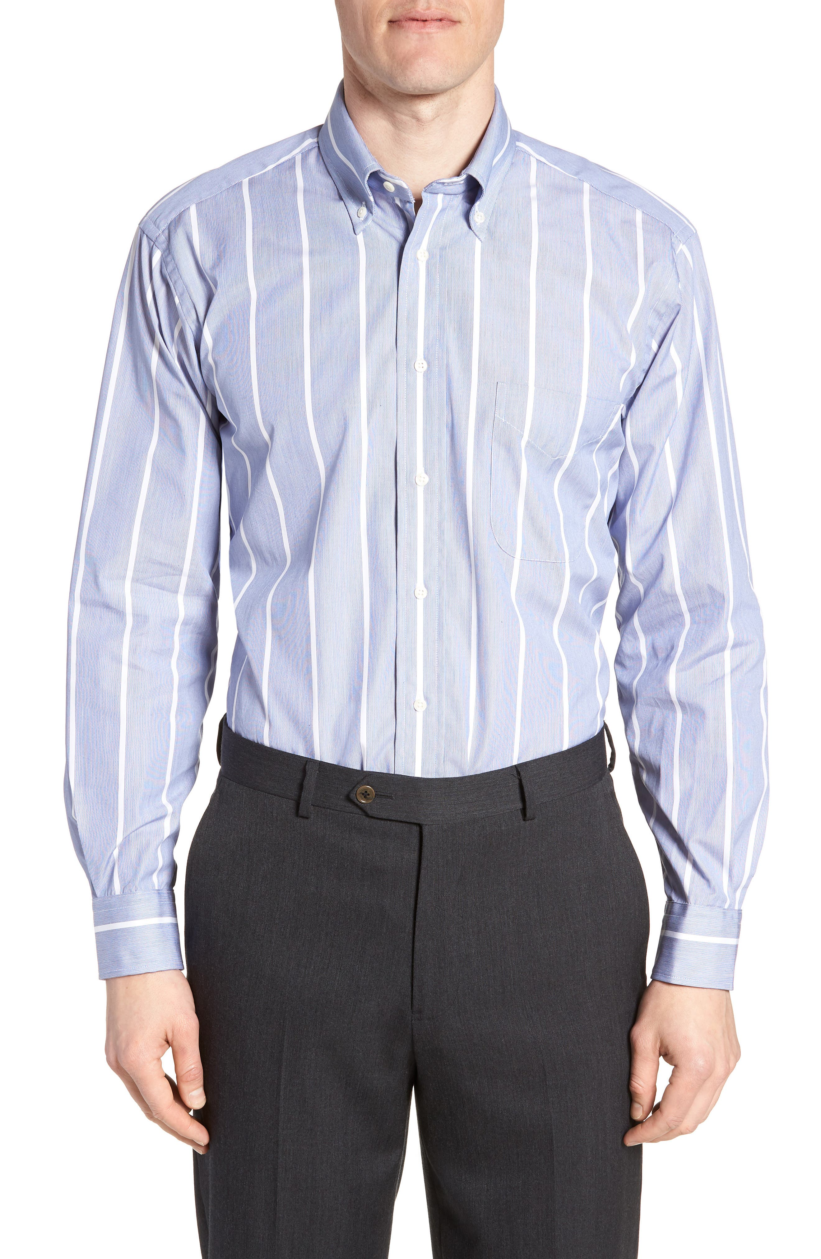 Tailored Fit Stripe Dress Shirt,                         Main,                         color, Navy/ White
