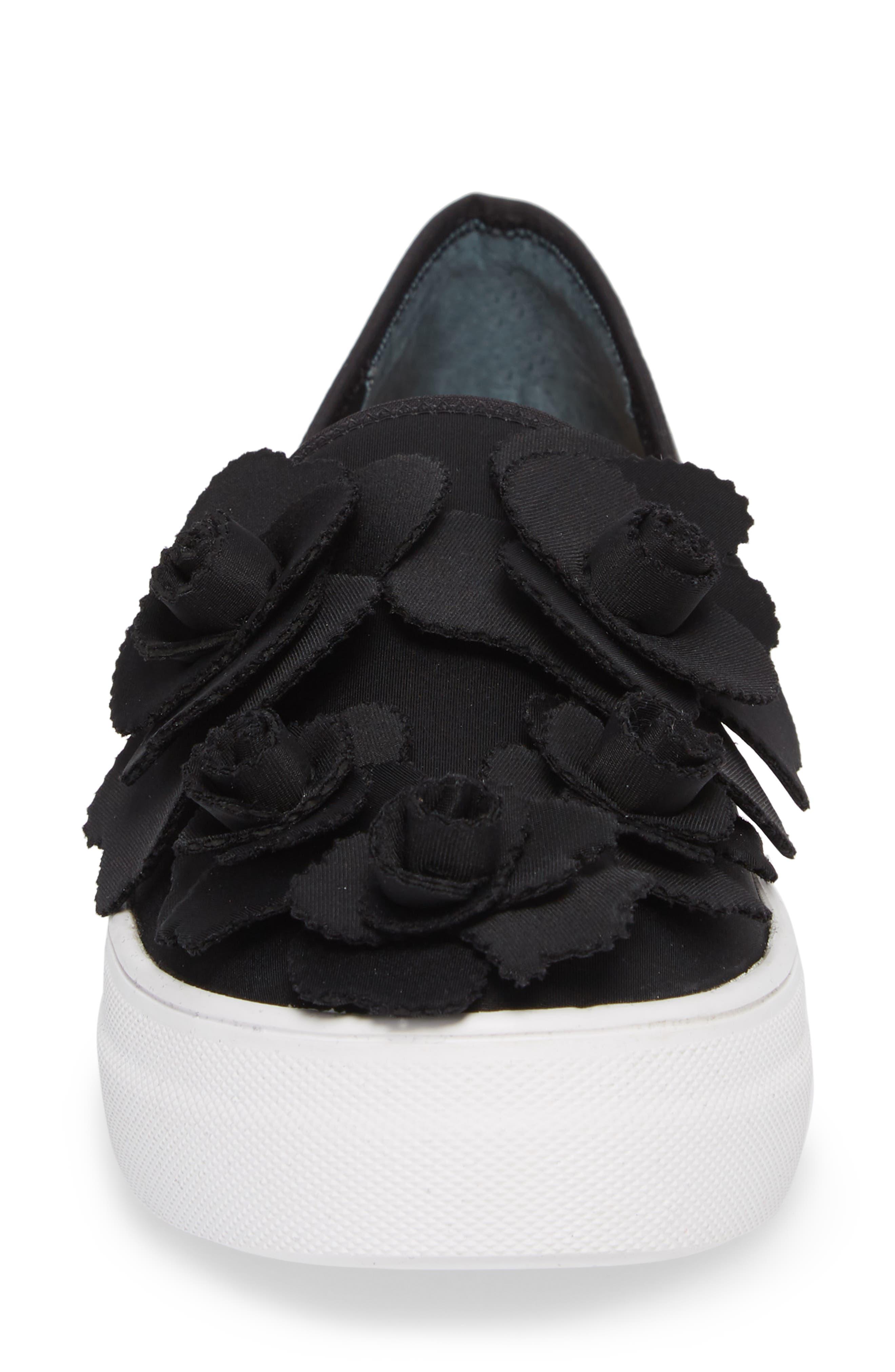 Alden Floral Embellished Slip-On Sneaker,                             Alternate thumbnail 4, color,                             Black Flower Neoprene