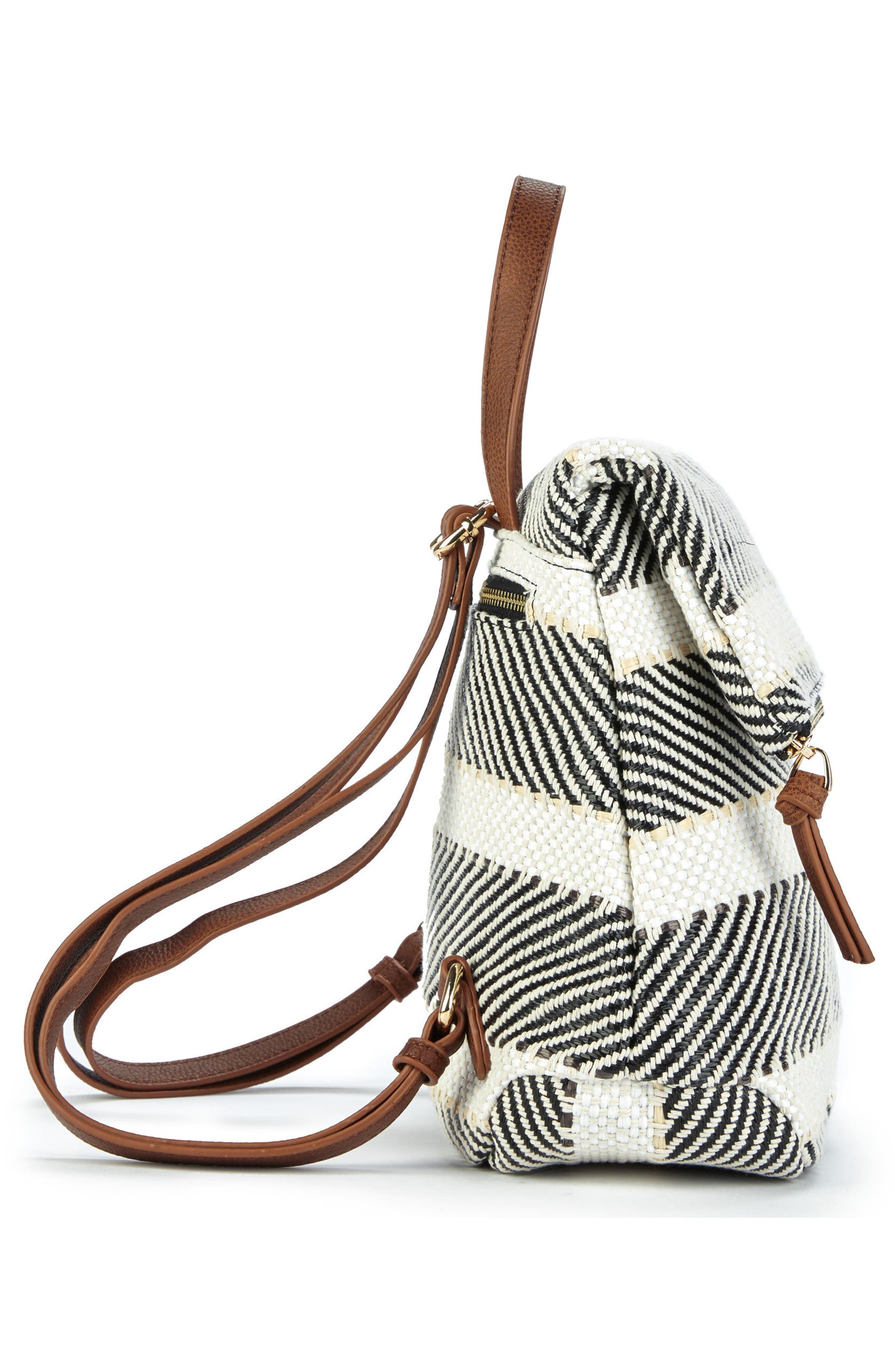 Fabric Backpack,                             Alternate thumbnail 4, color,                             Black/ Cream