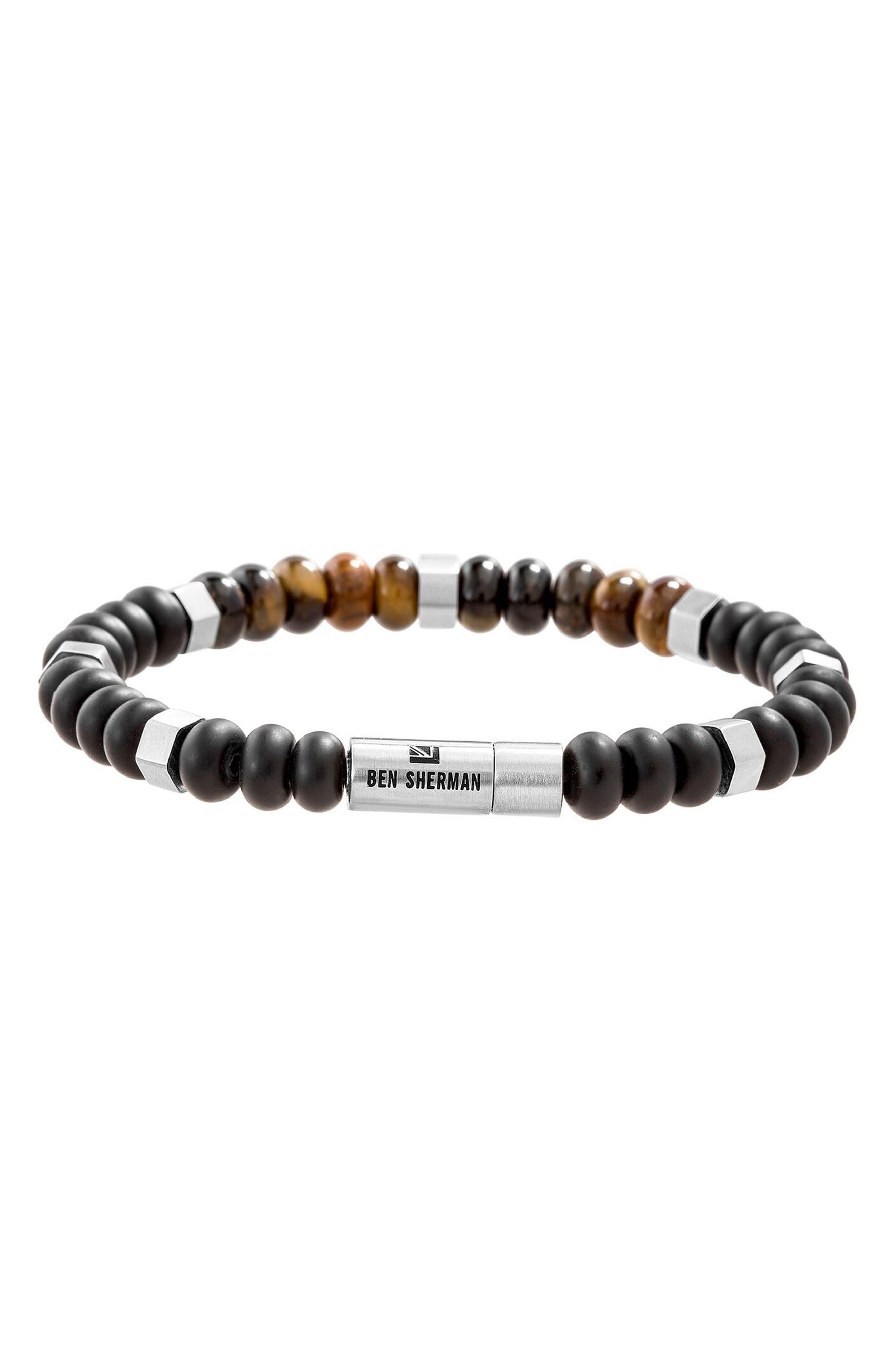 Tiger's Eye Bead Bracelet,                         Main,                         color, Brown