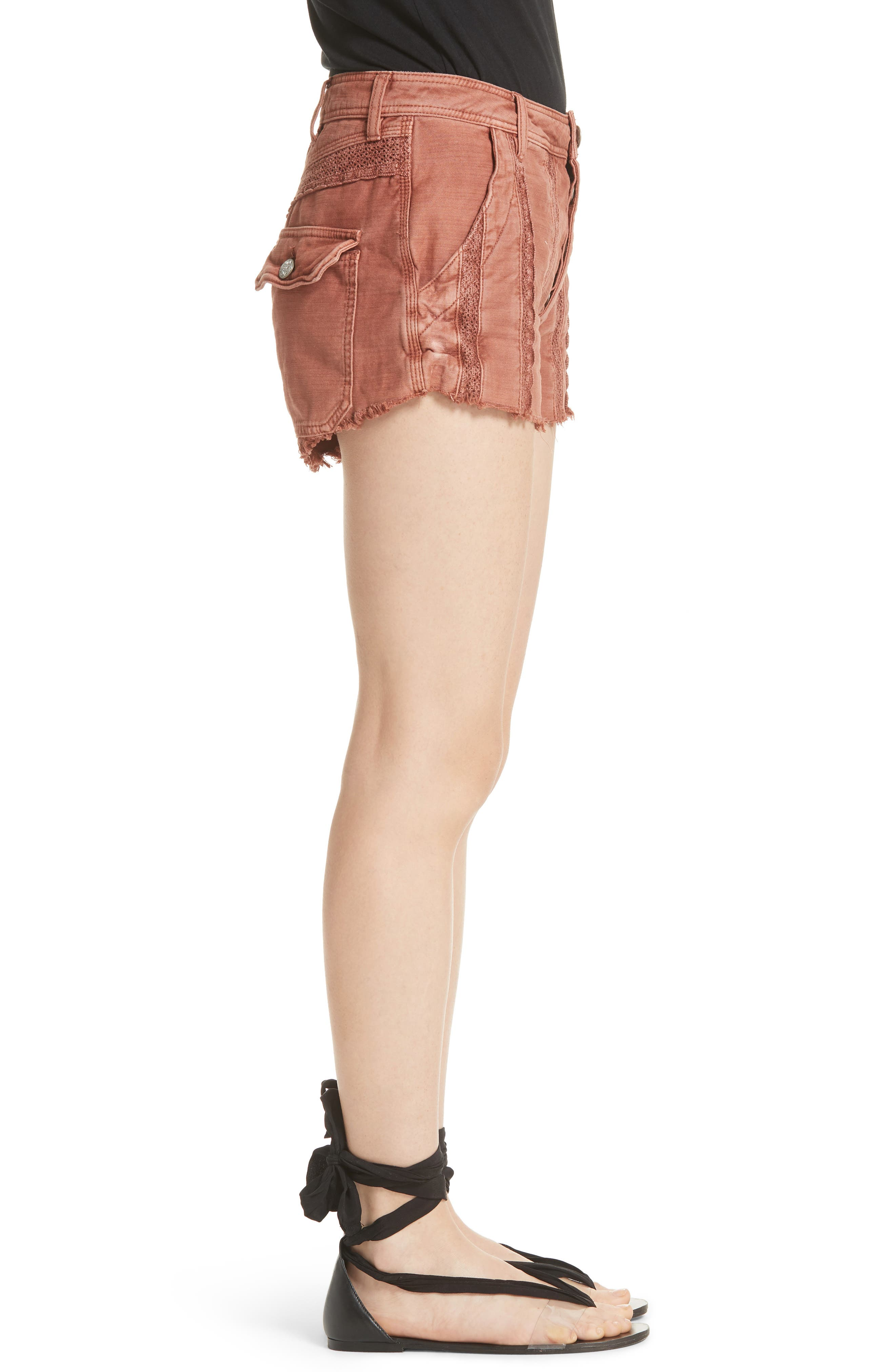 Great Expectations Lace Cutout Shorts,                             Alternate thumbnail 3, color,                             Peach
