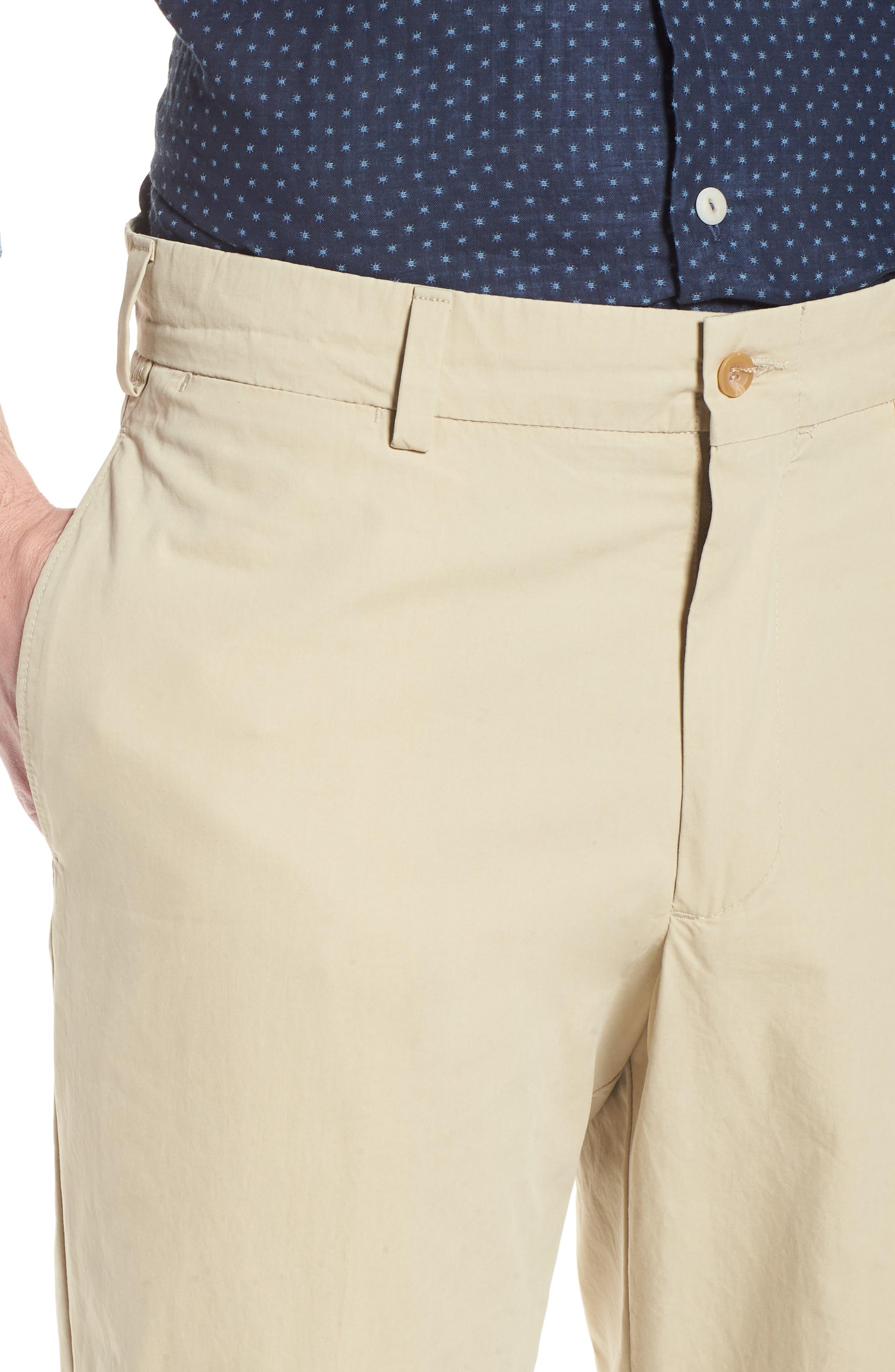 M2 Classic Fit Flat Front Tropical Cotton Poplin Pants,                             Alternate thumbnail 4, color,                             Khaki