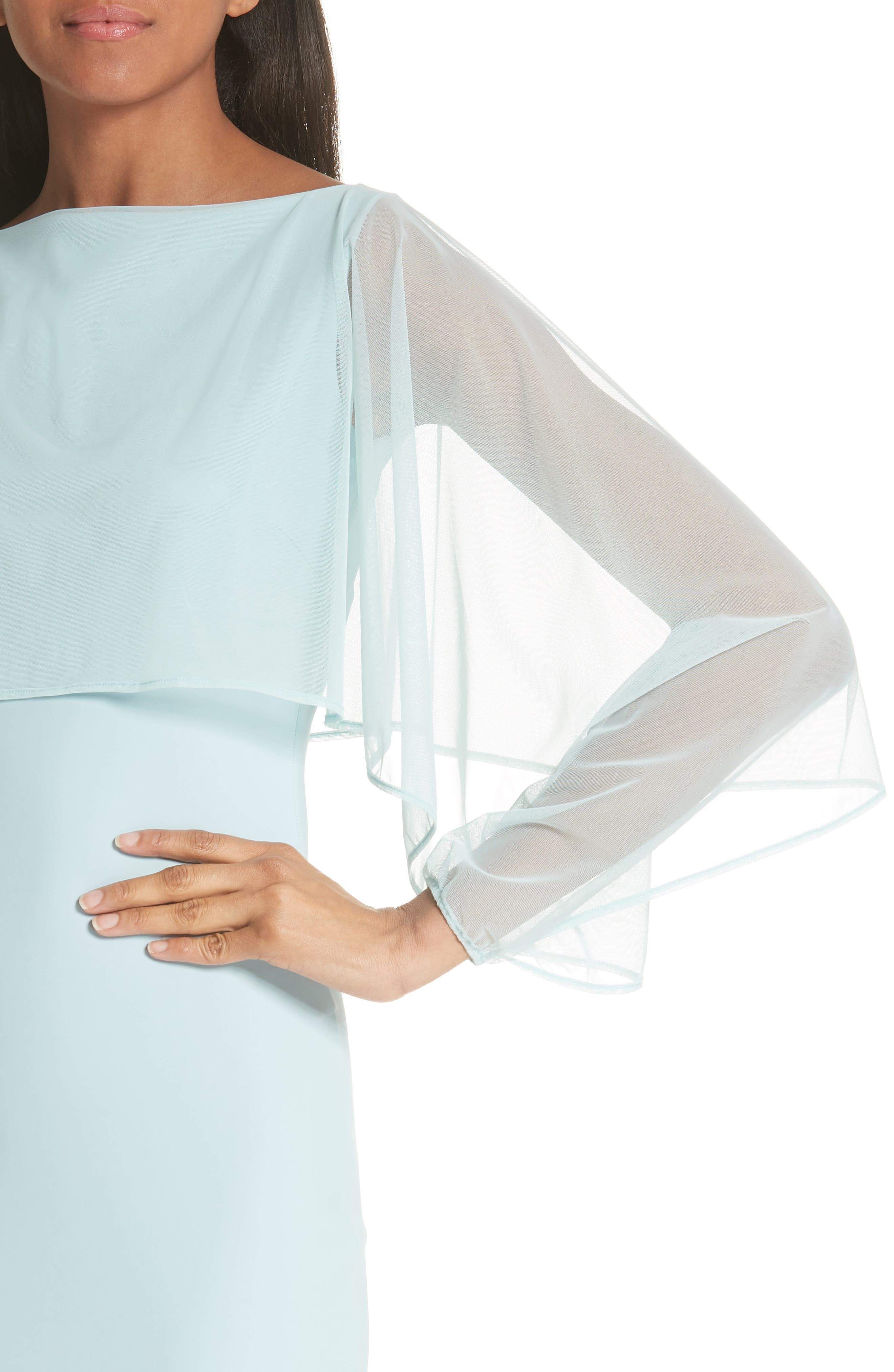 Illusion Overlay Trumpet Gown,                             Alternate thumbnail 4, color,                             Rugiada