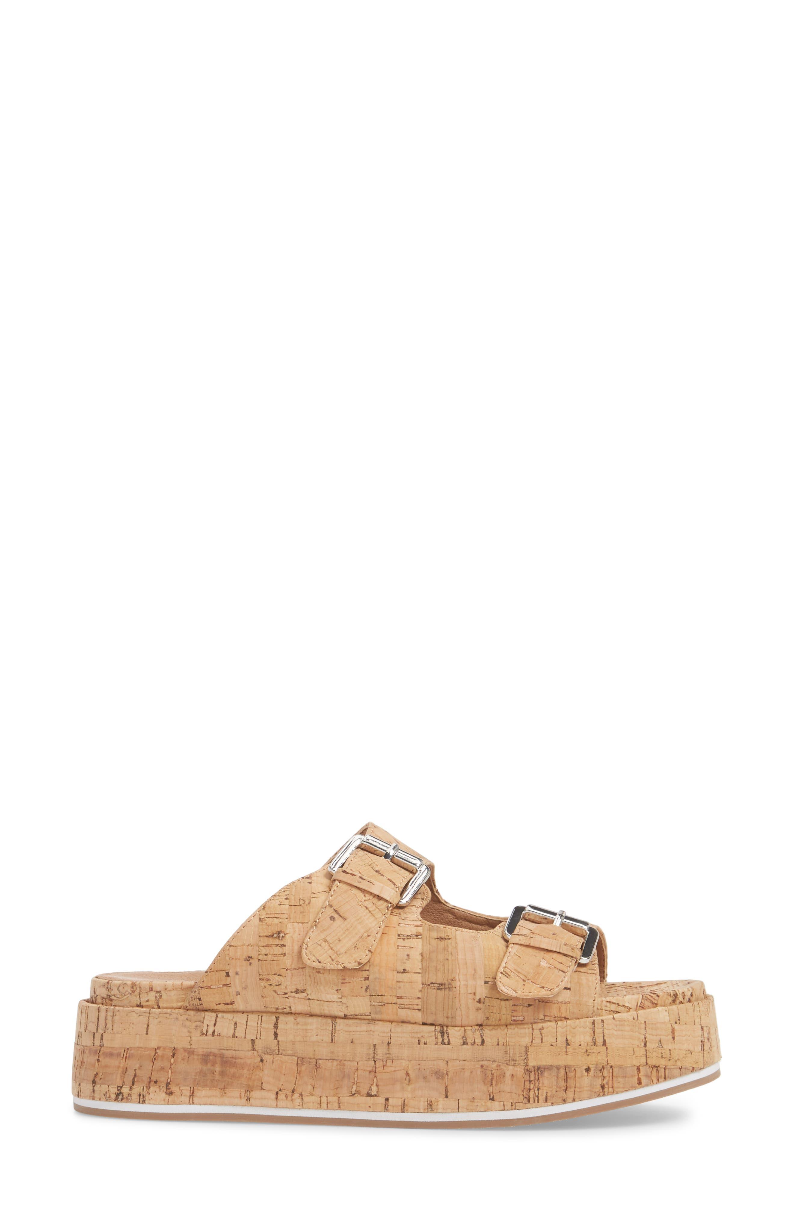 Jordan Two-Buckle Slide Sandal,                             Alternate thumbnail 3, color,                             Cork