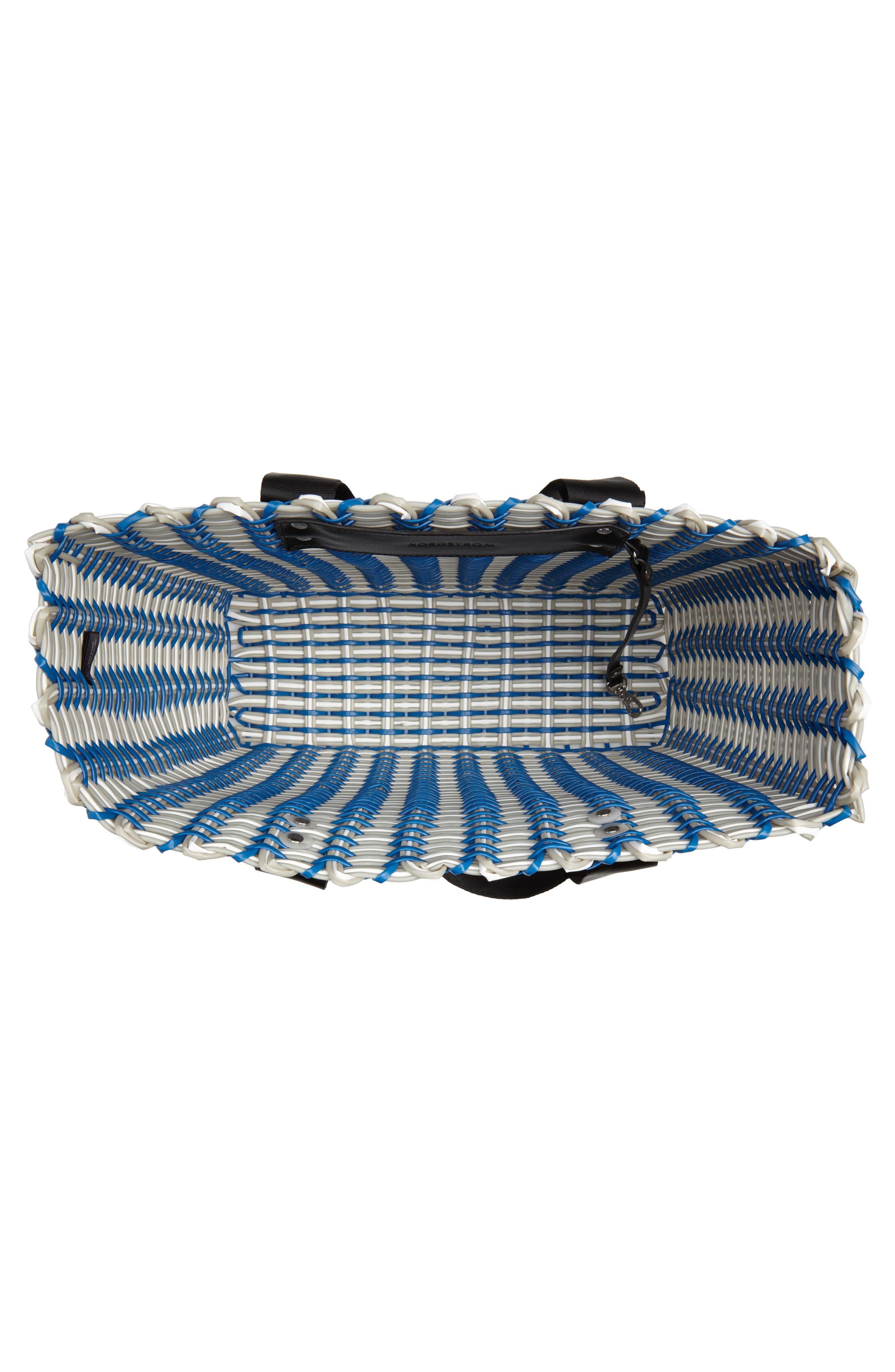Stripe Woven Tote,                             Alternate thumbnail 4, color,                             Navy Blue