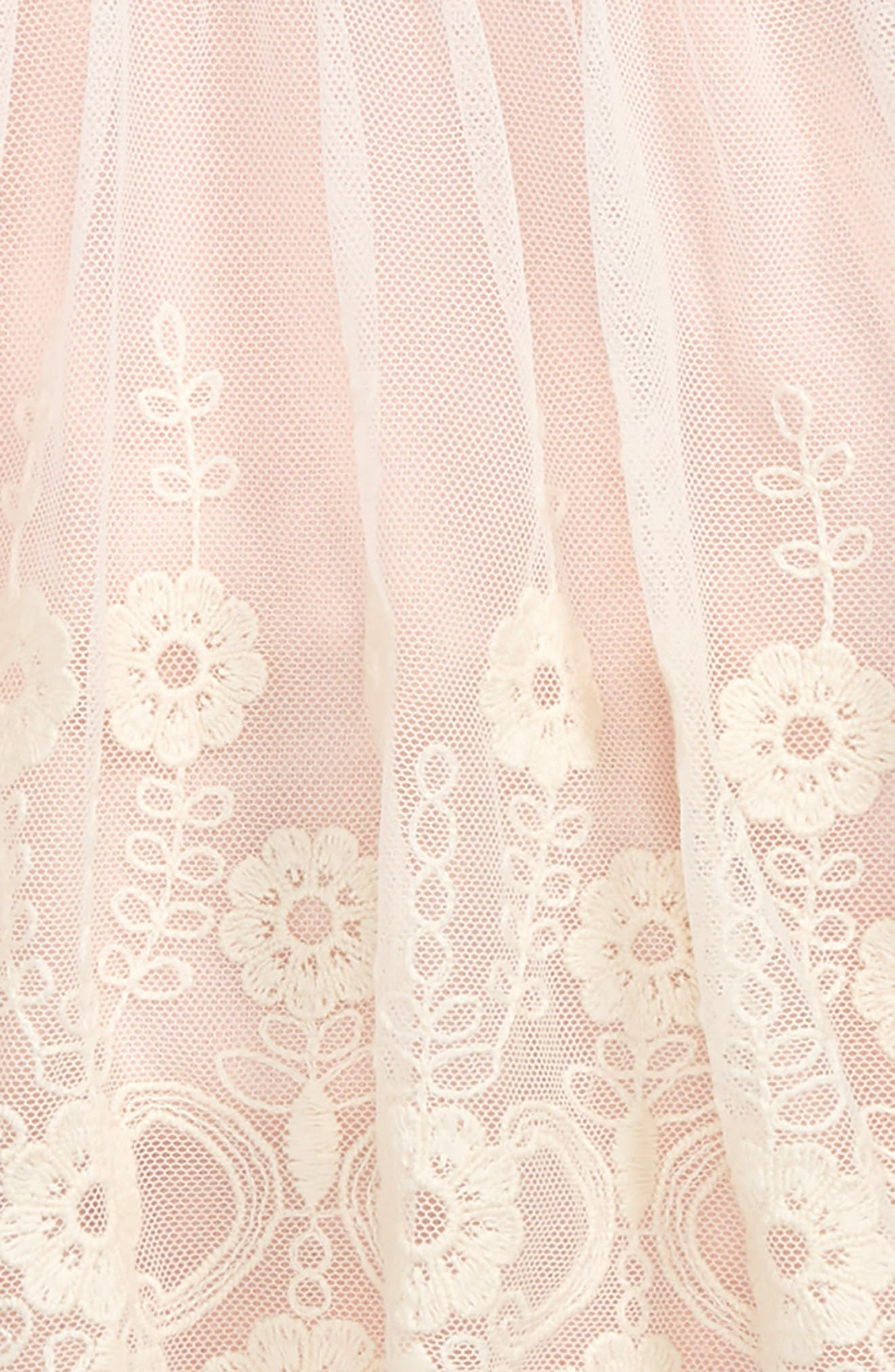 Flower Embroidered Sleeveless Dress,                             Alternate thumbnail 2, color,                             Ivory / Pink