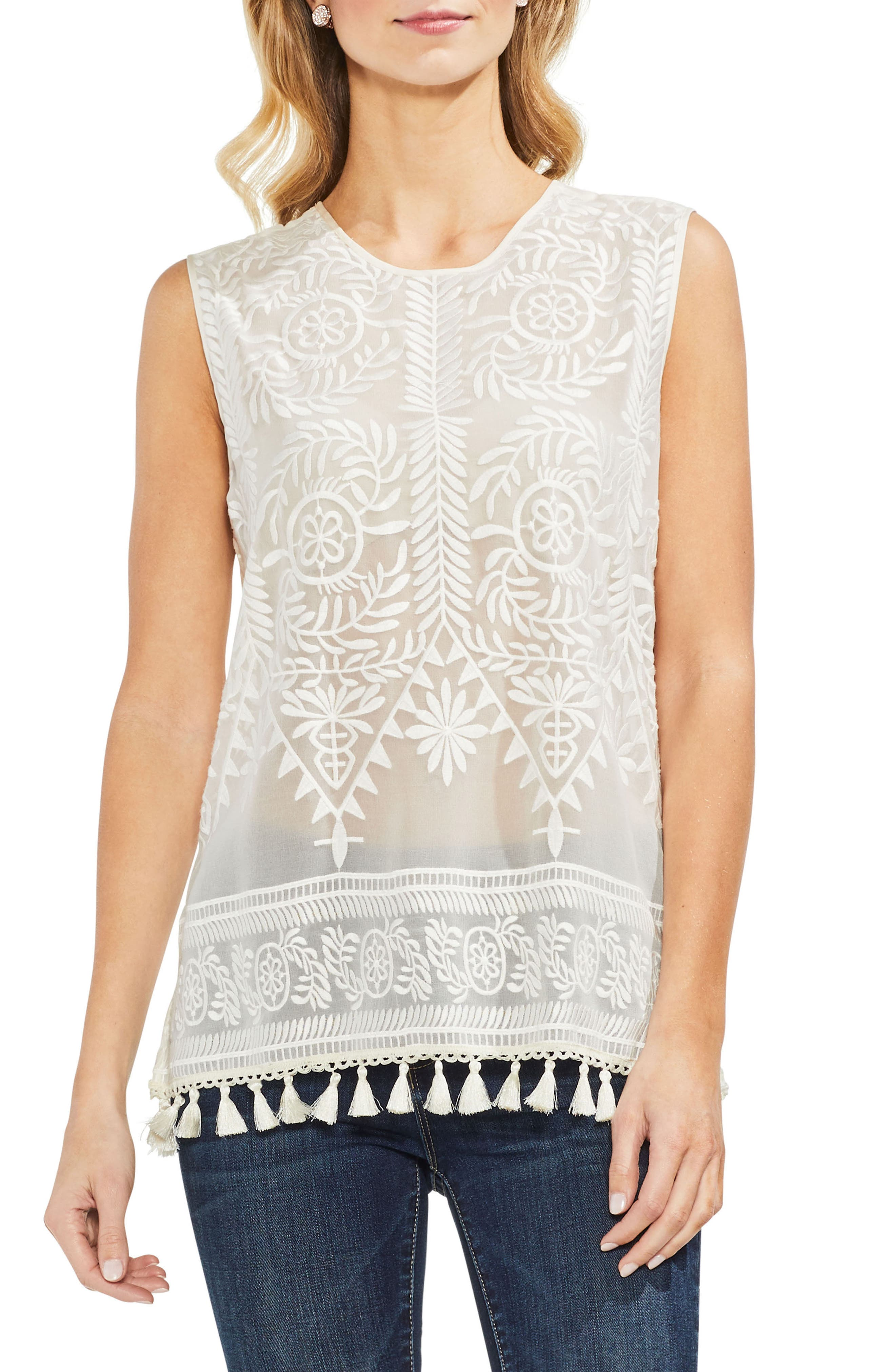 Tassel Hem Embroidered Top,                             Main thumbnail 1, color,                             Antique White
