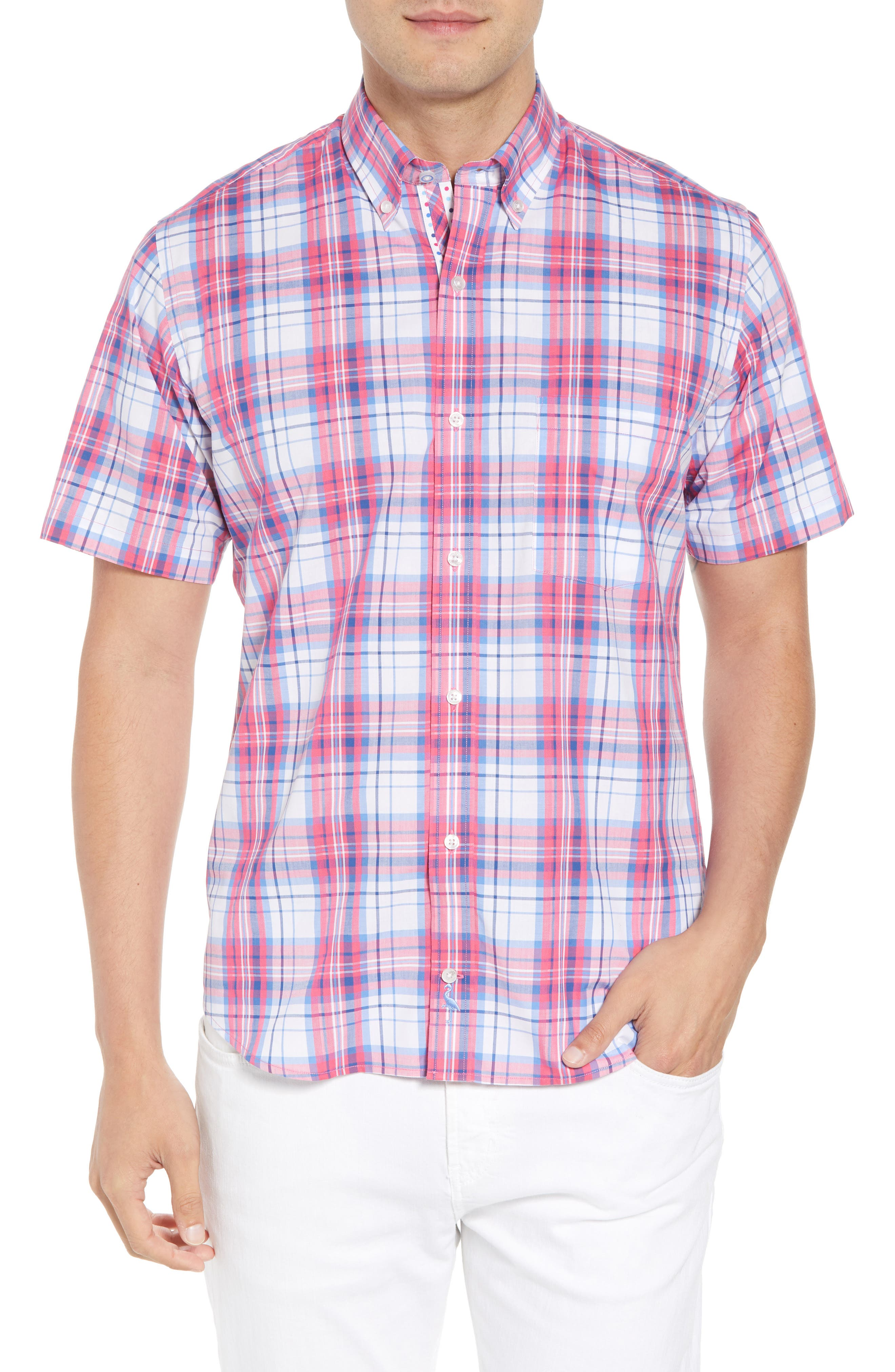 Alesso Regular Fit Plaid Sport Shirt,                         Main,                         color, Coral