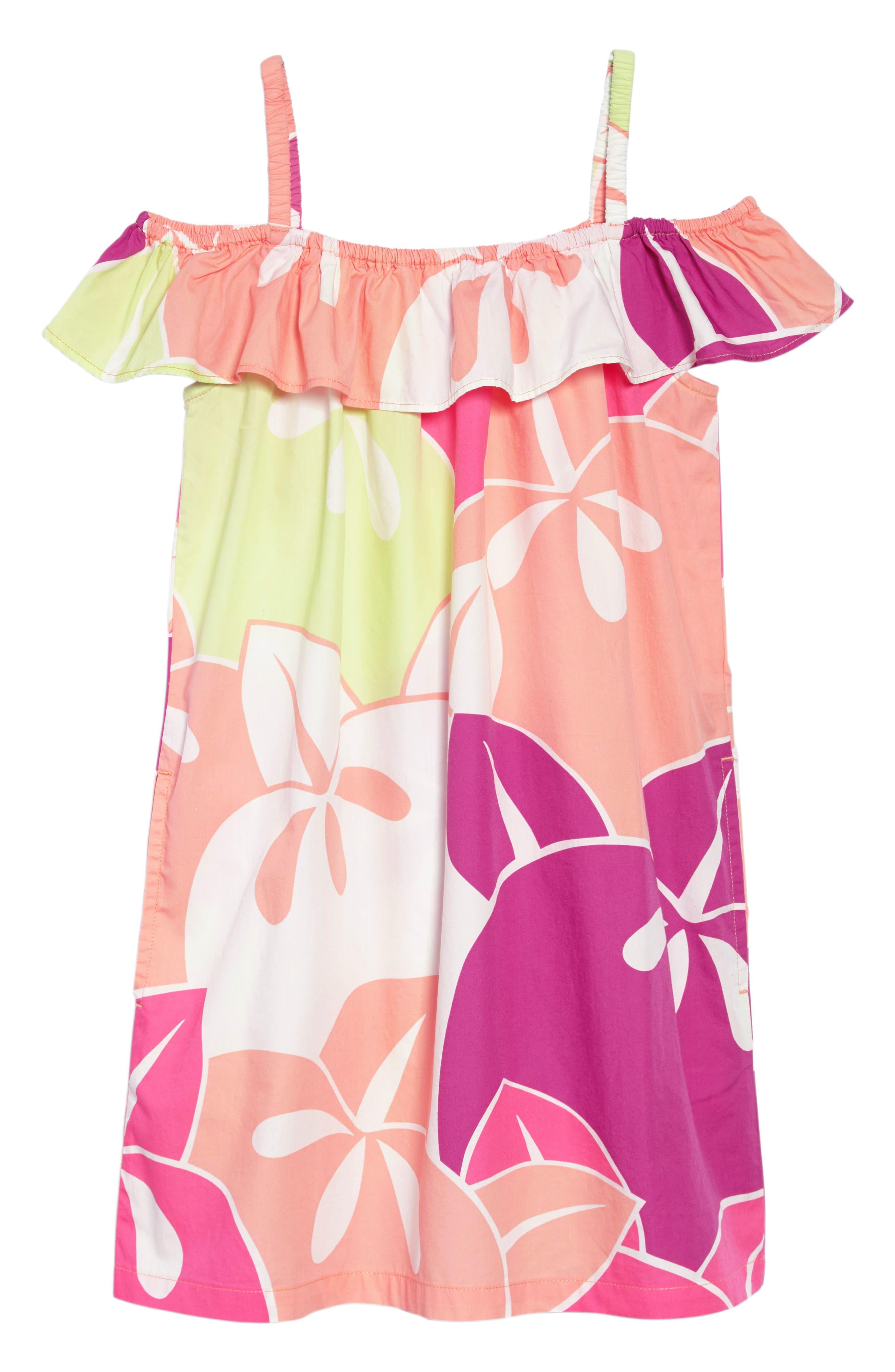 Tea Collection Ruffle Neck Dress (Toddler Girls, Little Girls & Big Girls)