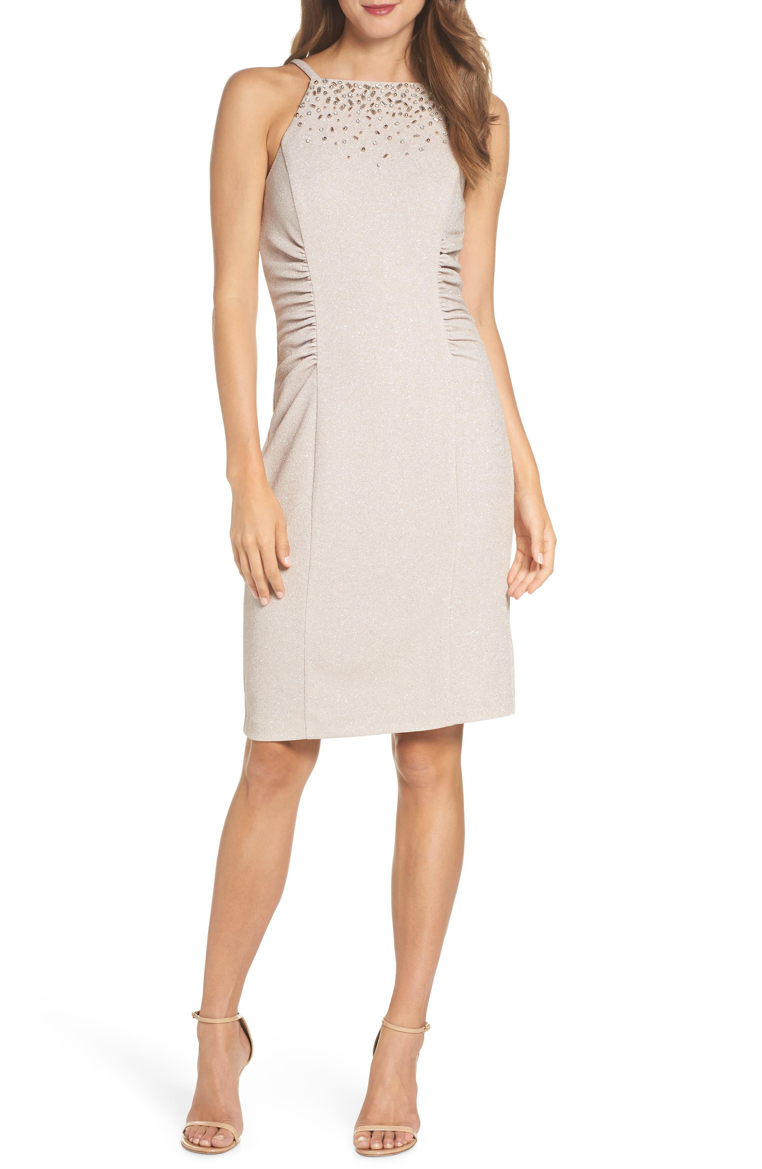Glitter Knit Sheath Dress,                             Main thumbnail 1, color,                             Champagne
