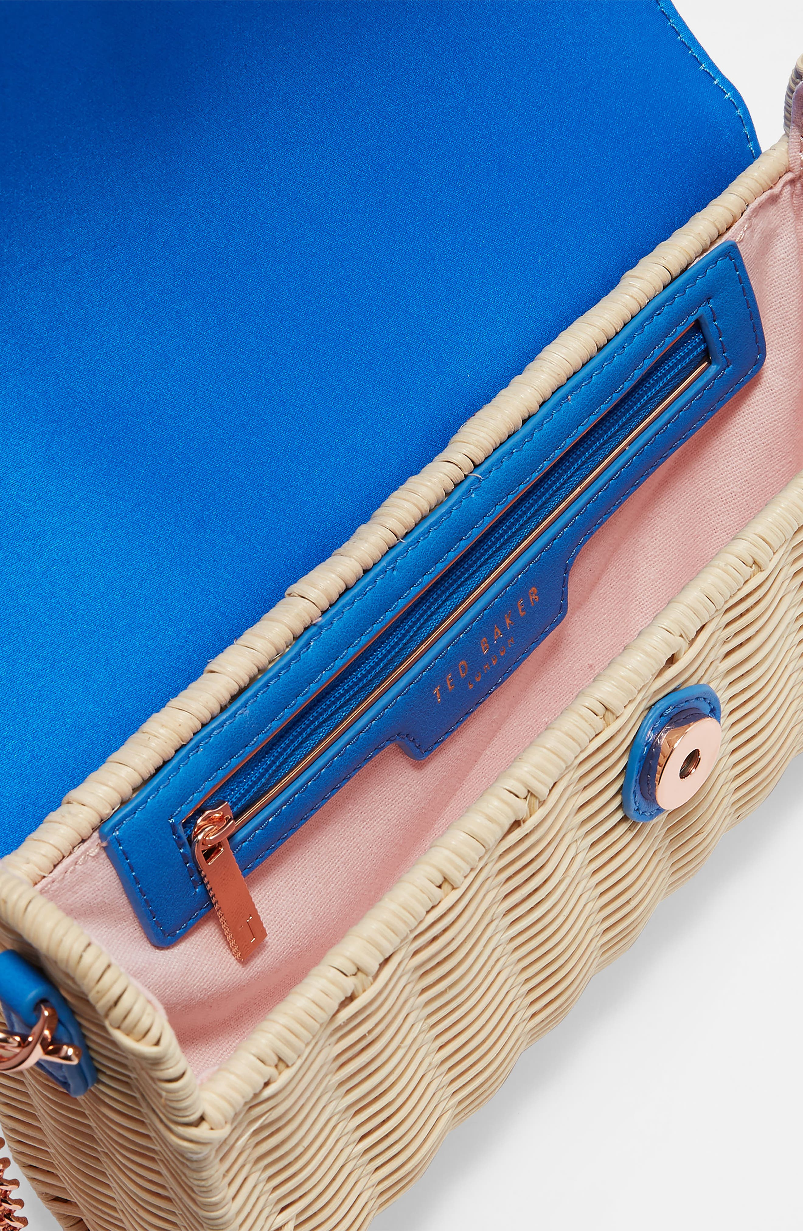 Haarley Harmony Woven Rattan Clutch,                             Alternate thumbnail 2, color,                             Bright Blue