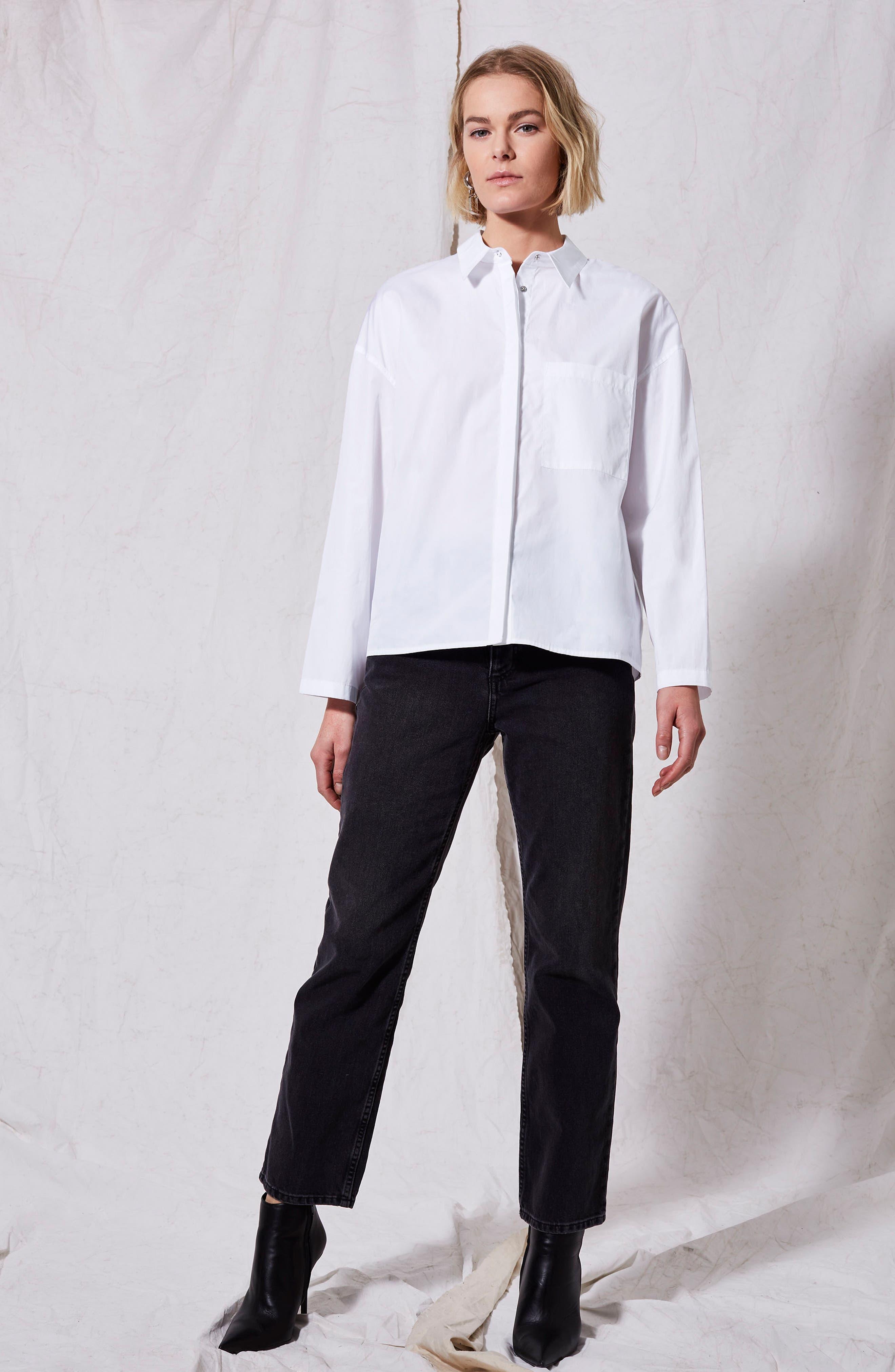 Popper Sleeve Boxy Shirt,                             Alternate thumbnail 2, color,                             White