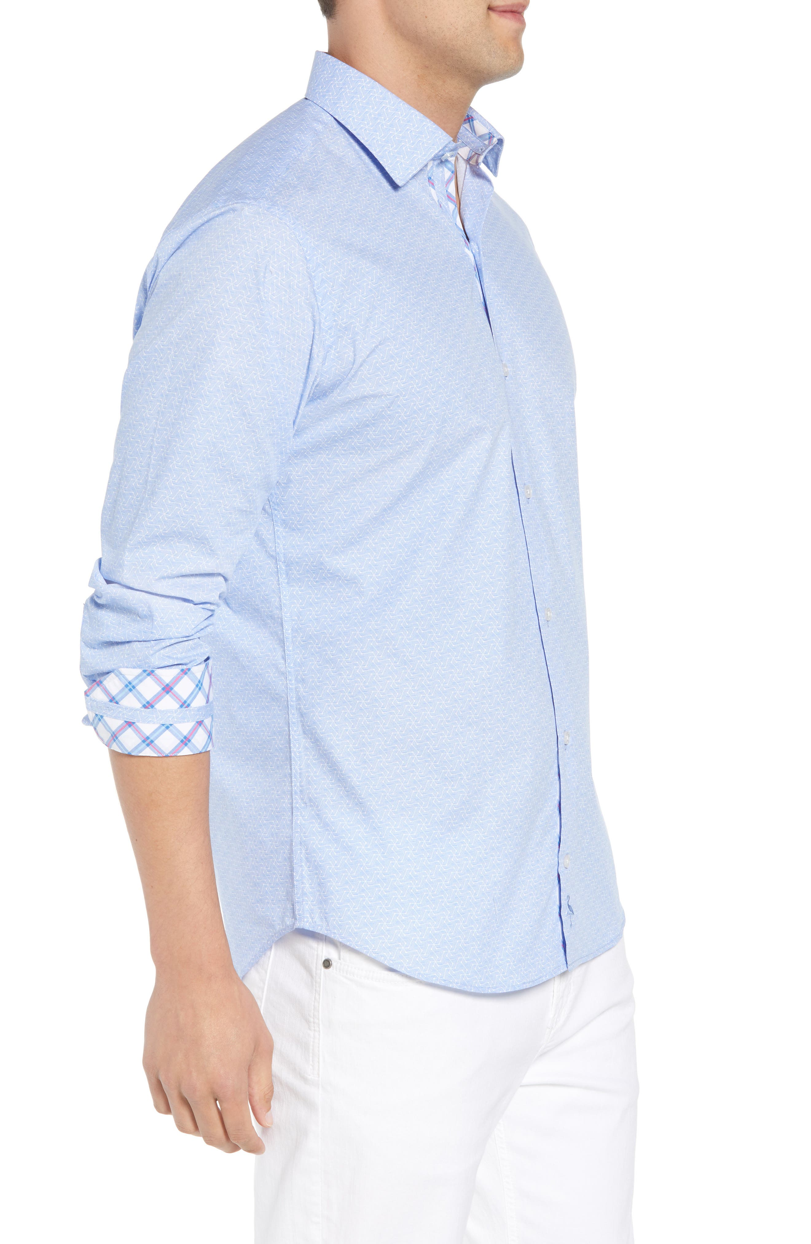 Beckham Regular Fit Plaid Sport Shirt,                             Alternate thumbnail 4, color,                             Light Blue