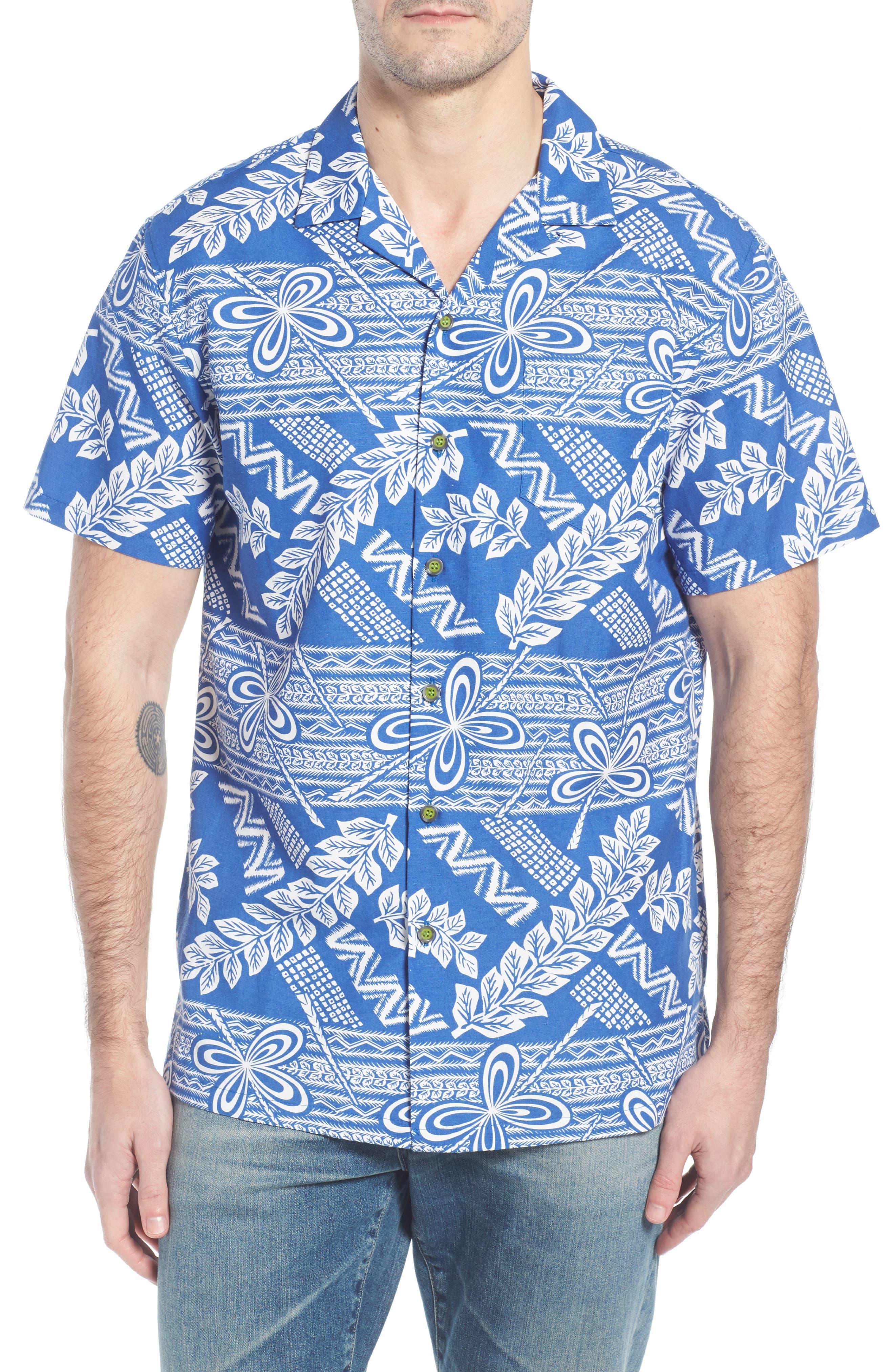 Makana Trim Fit Print Sport Shirt,                             Main thumbnail 1, color,                             Kai