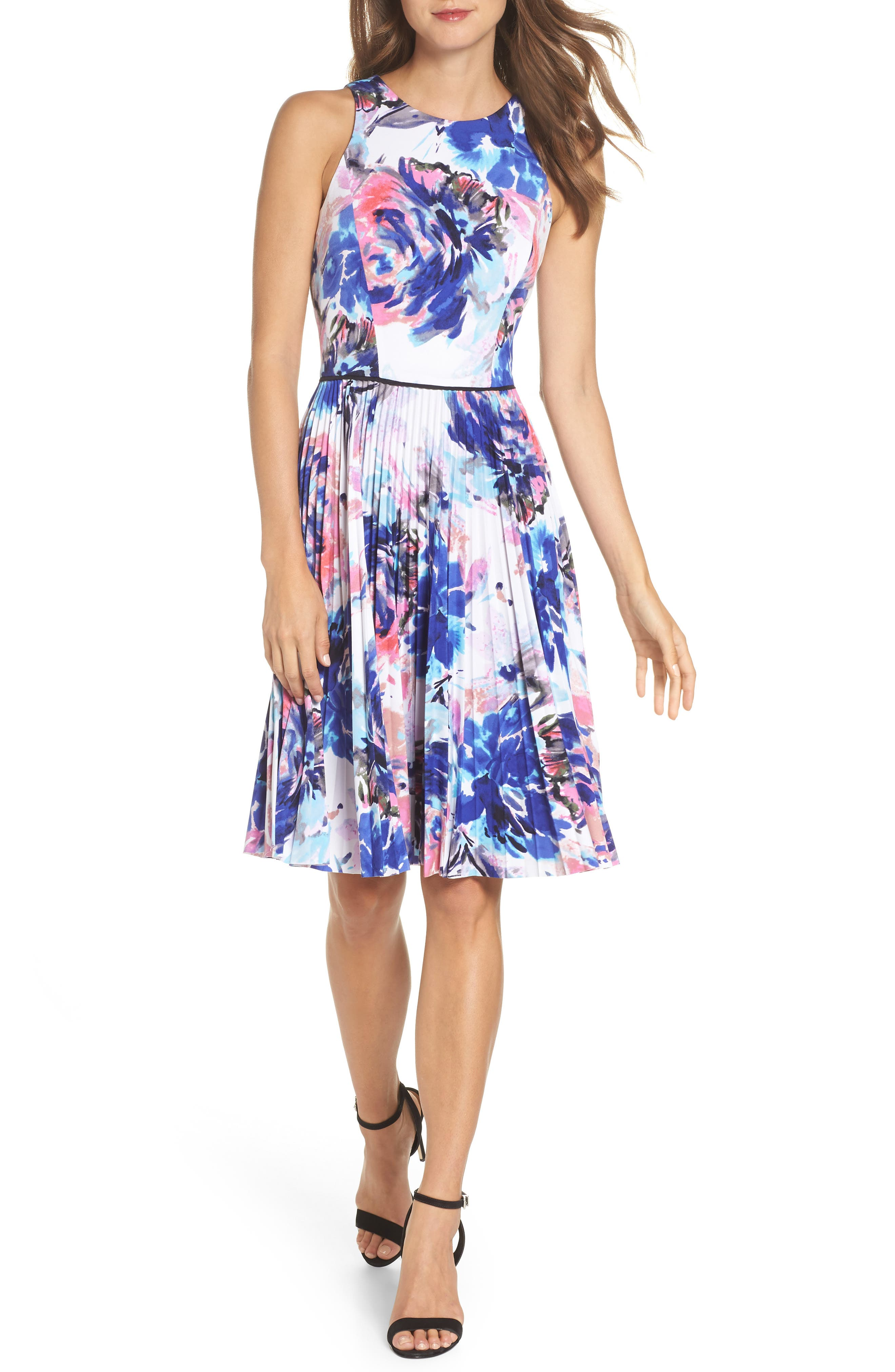 Floral Pleated Fit & Flare Dress,                             Main thumbnail 1, color,                             Soft White Royal