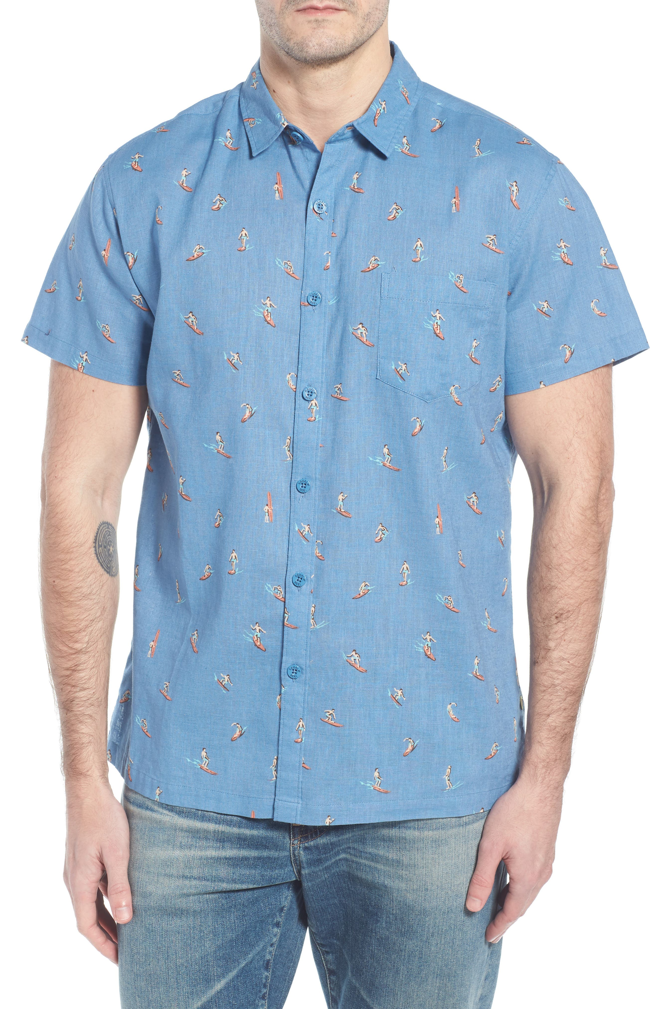 Waveriders Trim Fit Print Sport Shirt,                             Main thumbnail 1, color,                             Chambray