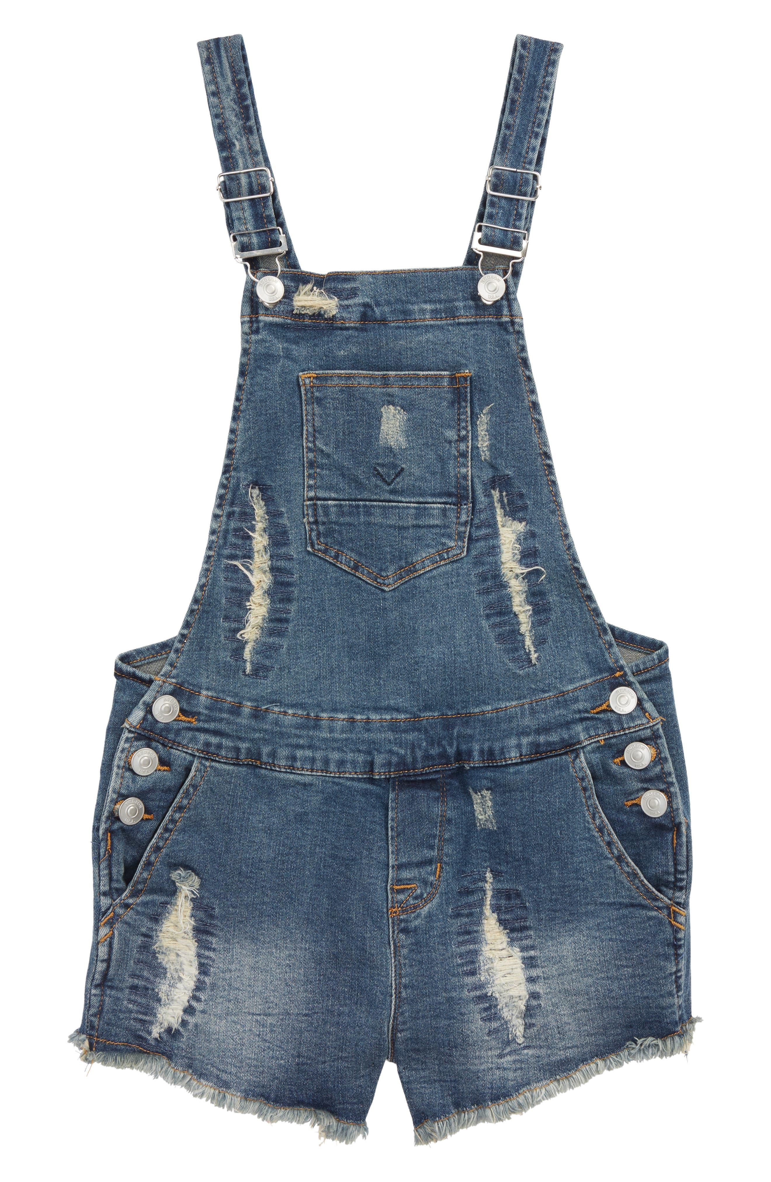 Hudson Kids Distressed Short Overalls (Big Girls)
