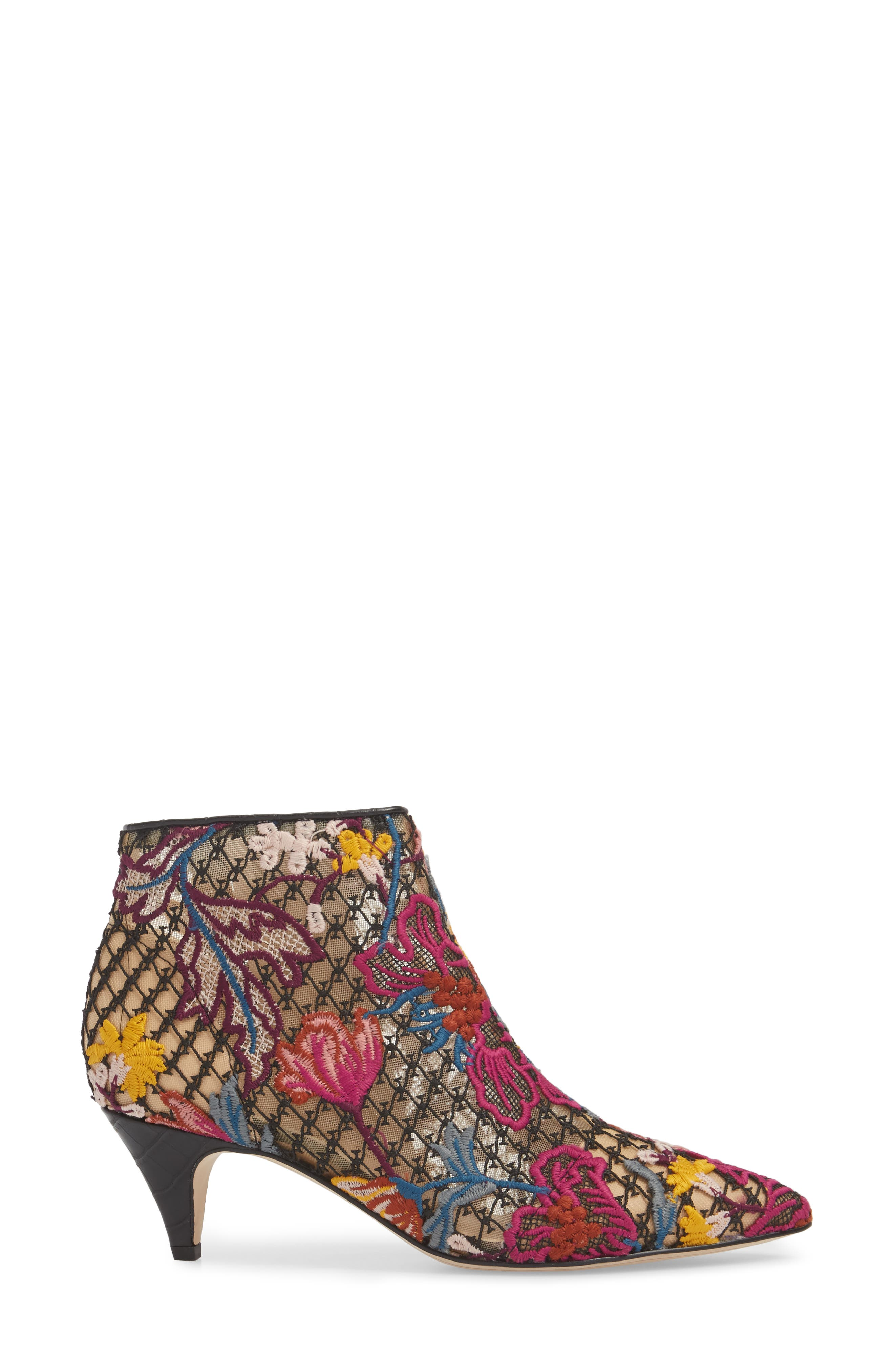 Kinzey Pointy Toe Bootie,                             Alternate thumbnail 3, color,                             Bright Multi Floral Lace