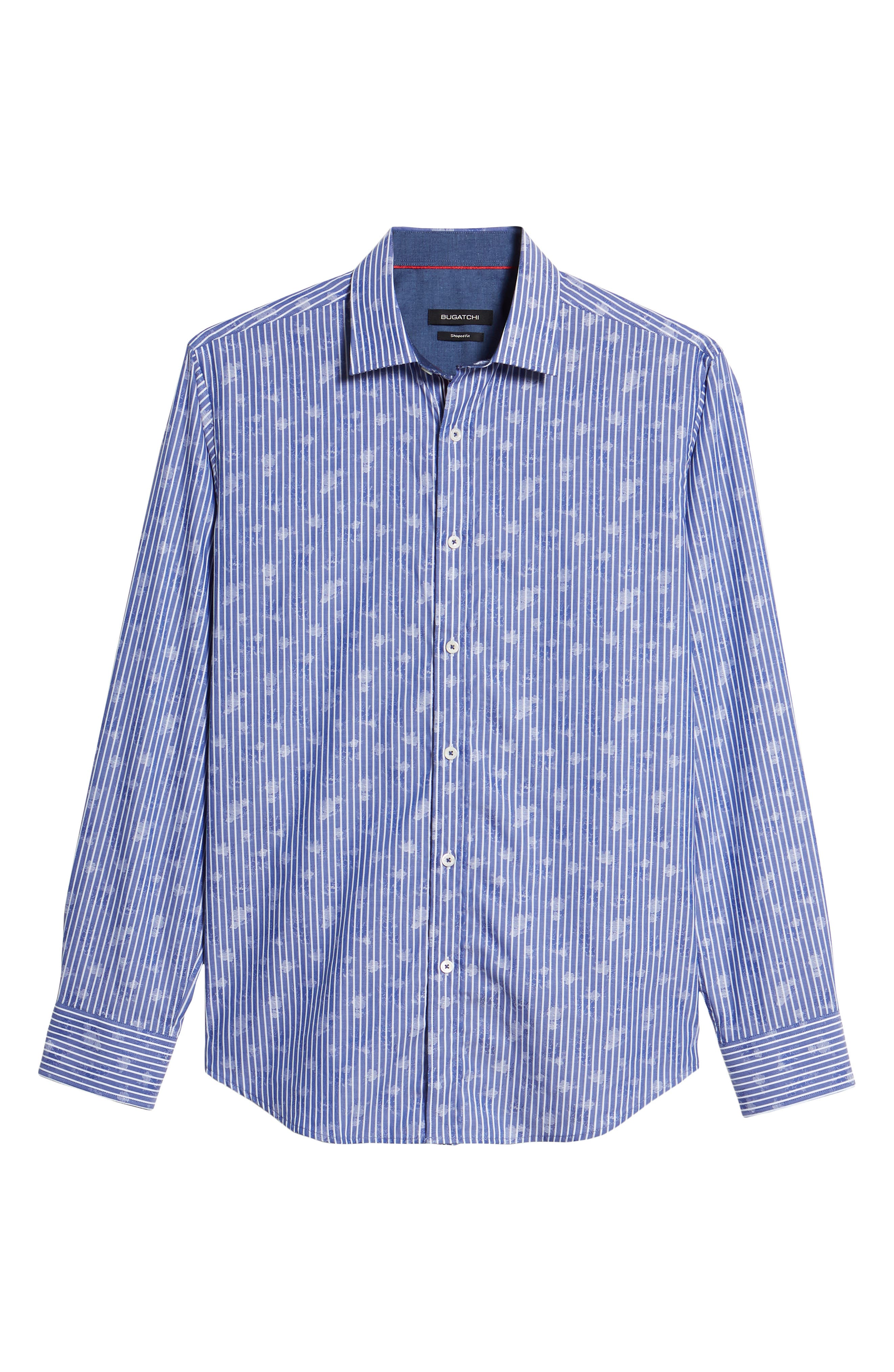 Shaped Fit Layered Print Sport Shirt,                             Alternate thumbnail 6, color,                             Navy