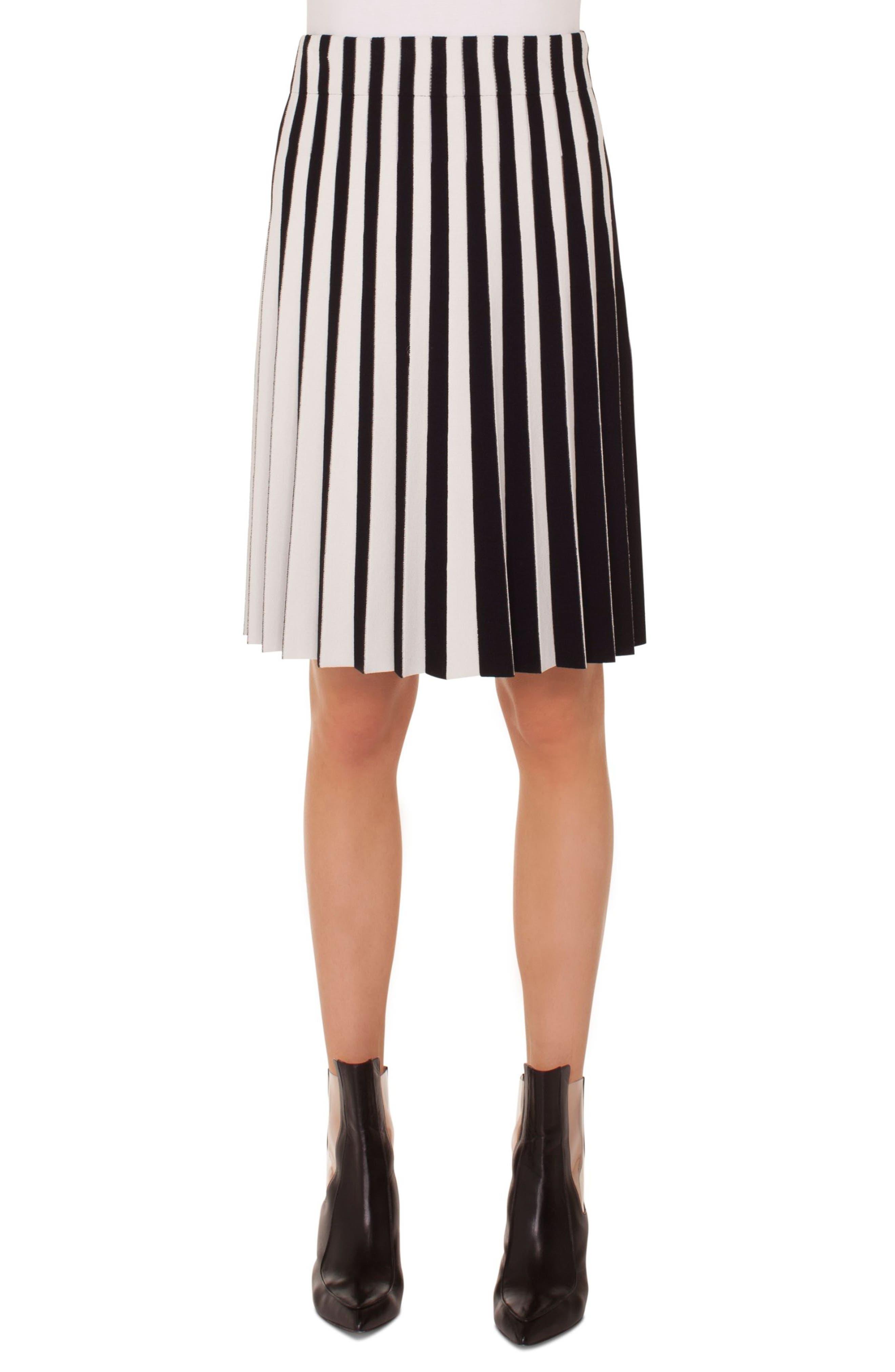 Stripe Pleat Skirt,                         Main,                         color, Black-Cream