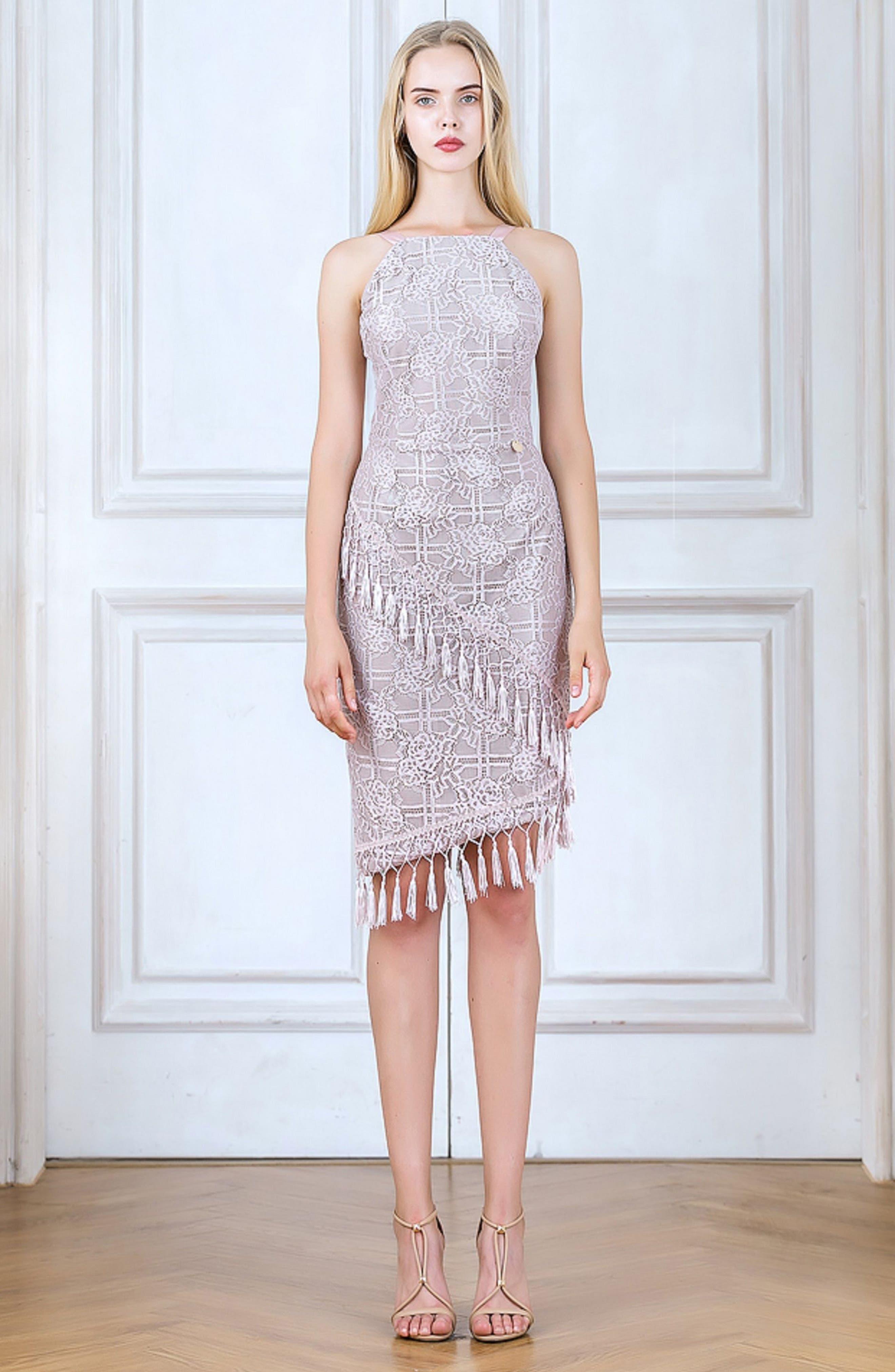 Natasha Asymmetrical Lace Dress,                             Alternate thumbnail 7, color,