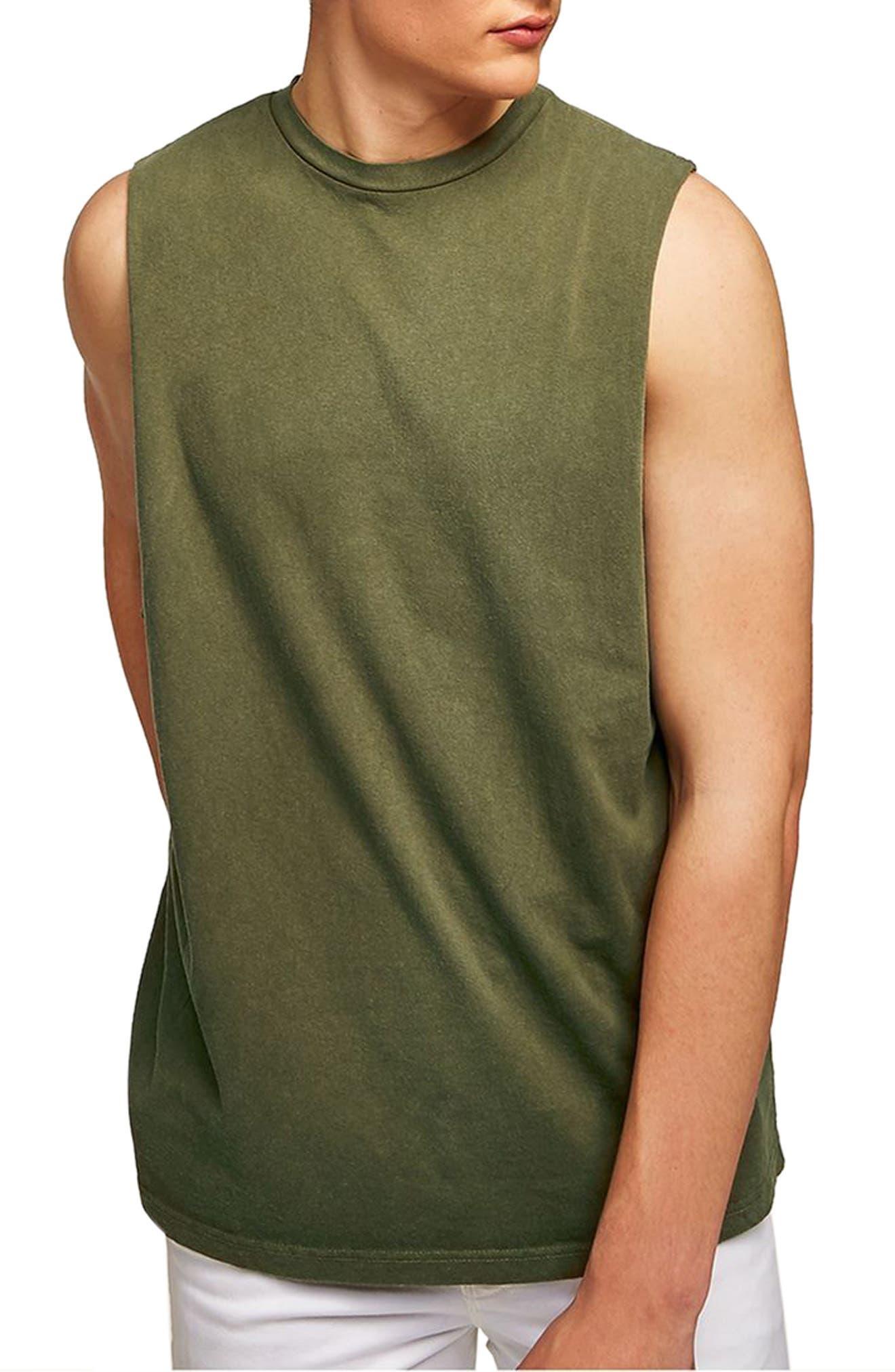 489e542645ec9 Topman Drop Shoulder Tank In Dark Olive