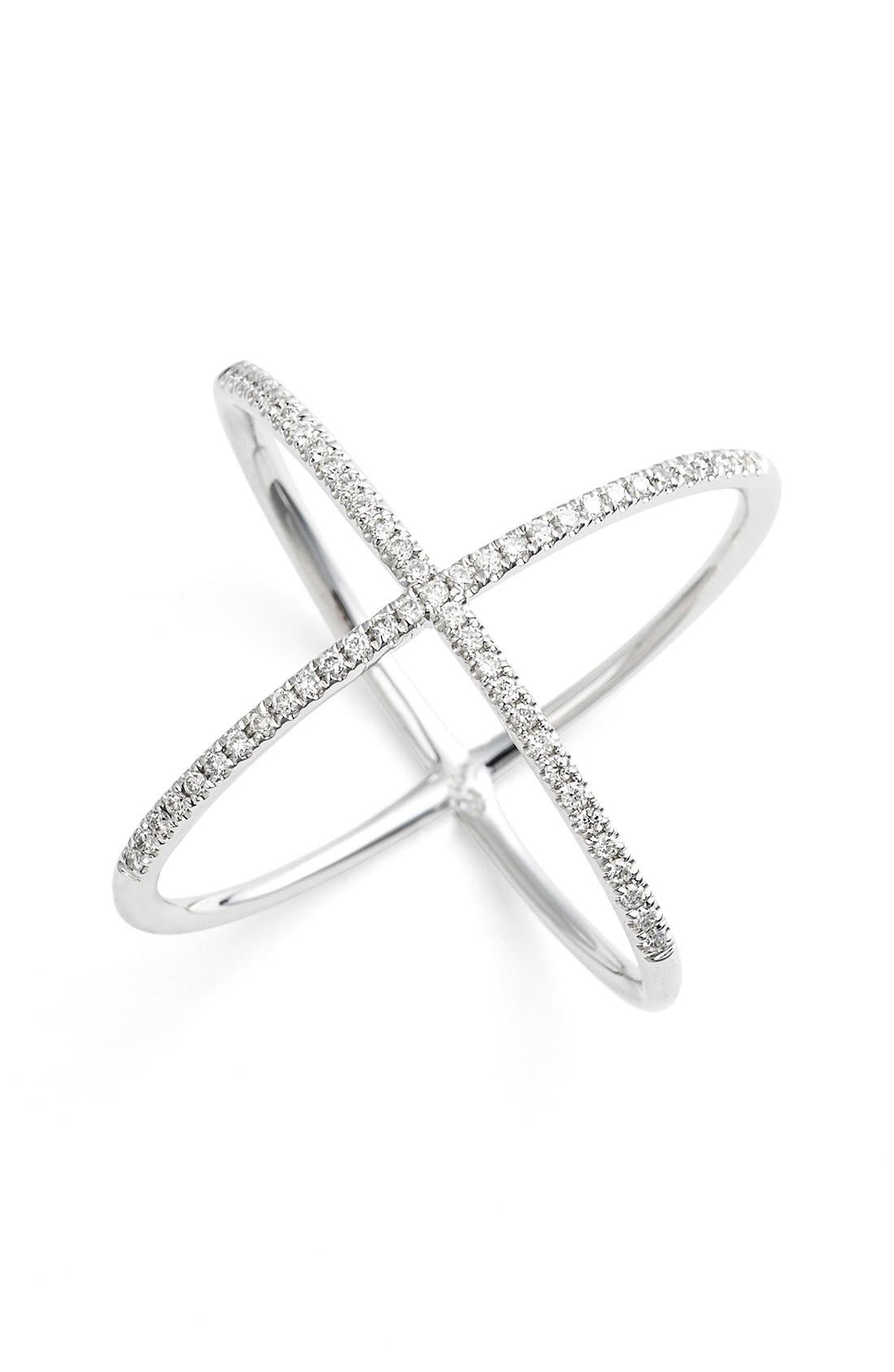 Crossover Diamond Ring,                             Main thumbnail 1, color,                             White Gold