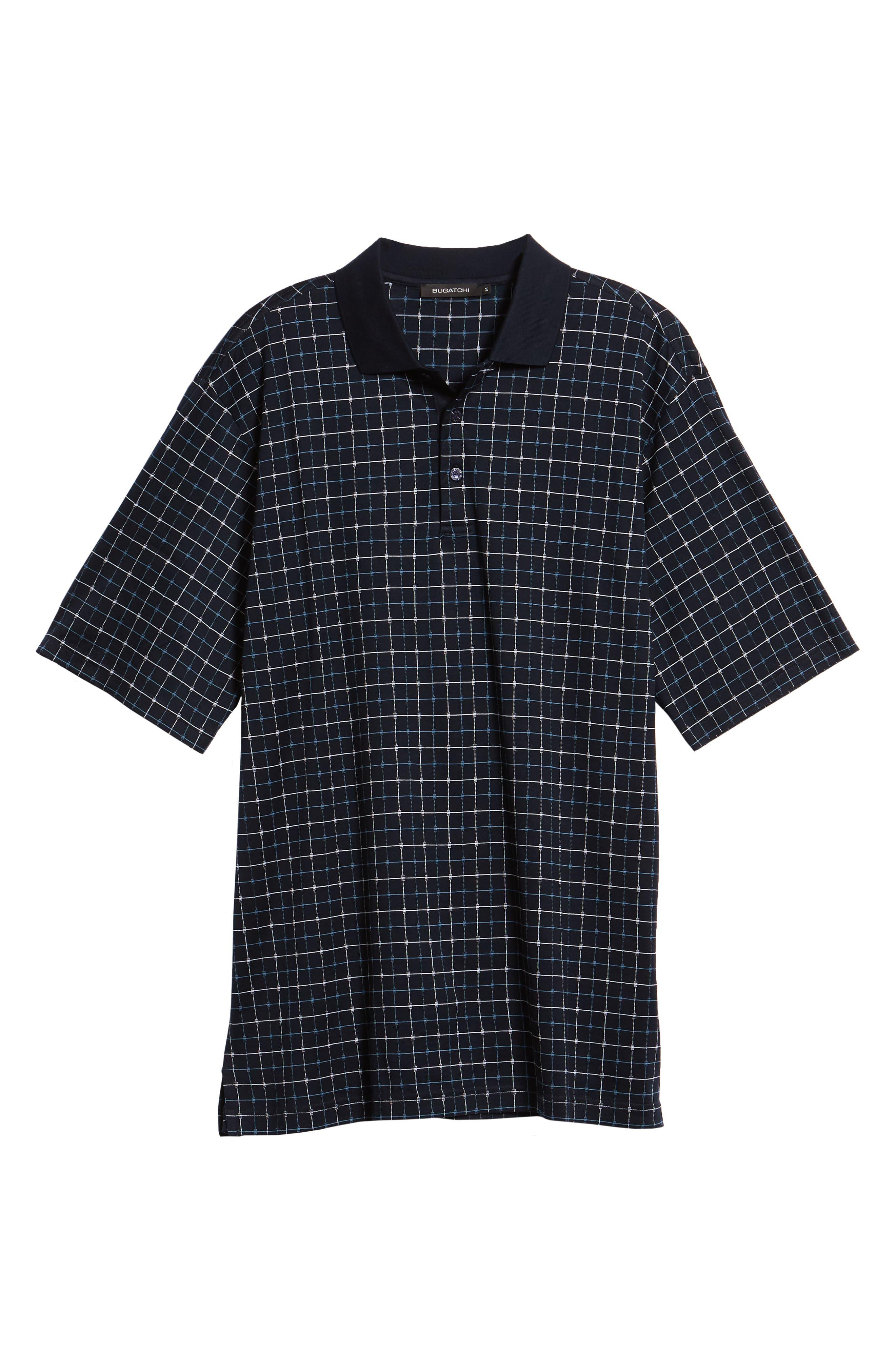 Grid Mercerized Cotton Polo,                             Alternate thumbnail 6, color,                             Midnight