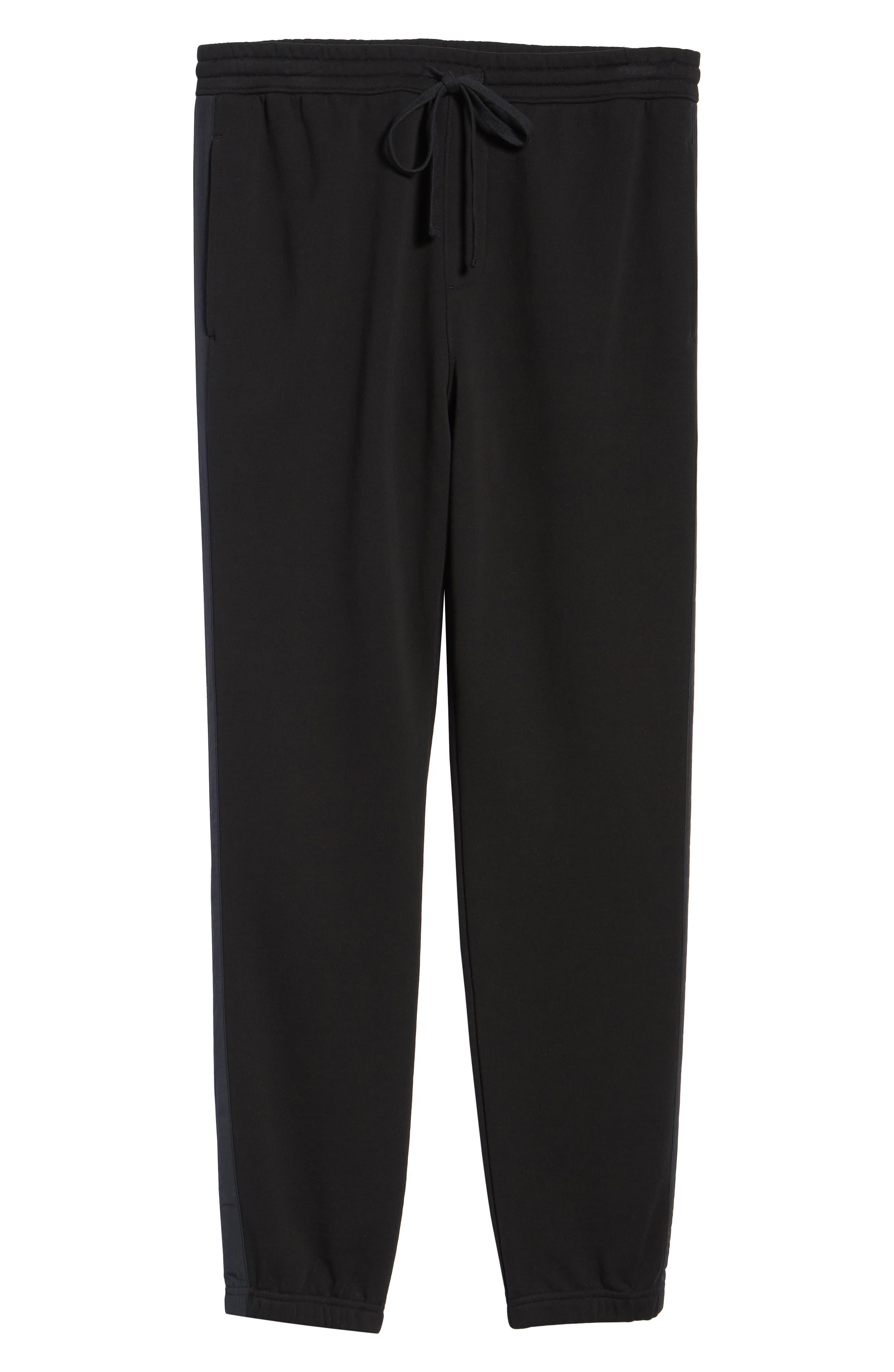 Mix Media Regular Fit Cotton Sweatpants,                             Alternate thumbnail 6, color,                             Black