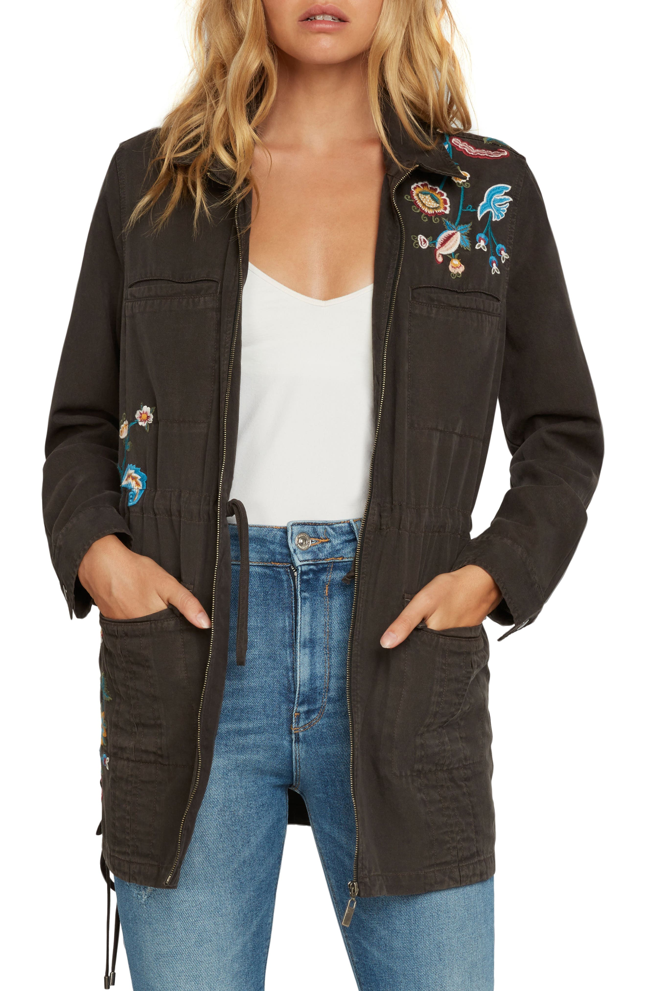 Embroidered Jacket,                         Main,                         color, Dark Olive