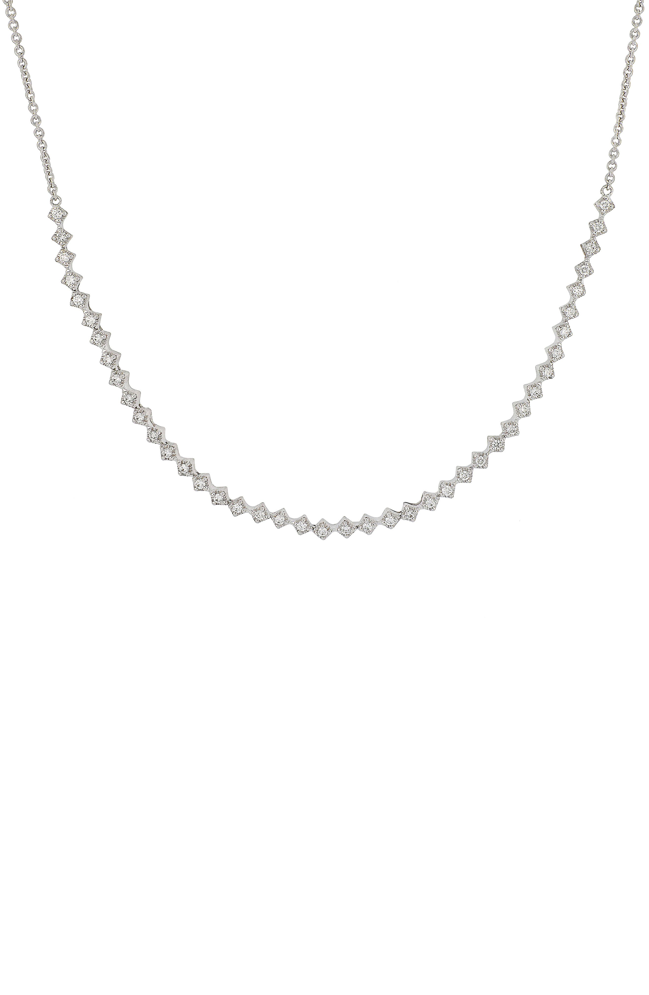 Mila Diamond Station Necklace,                         Main,                         color, White Gold