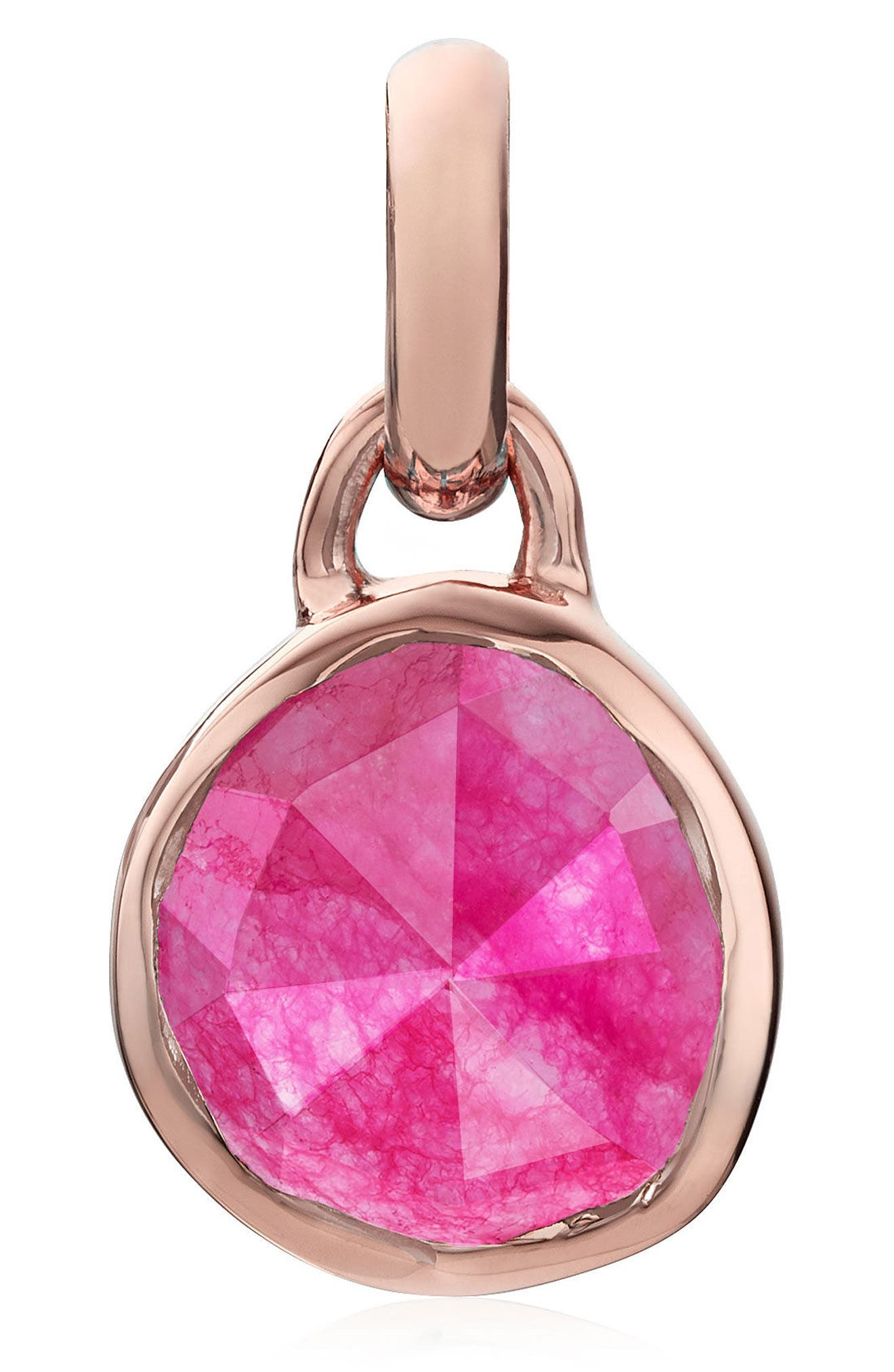 Siren Mini Semiprecious Stone Bezel Pendant,                             Main thumbnail 1, color,                             Rose Gold/ Pink Quartz